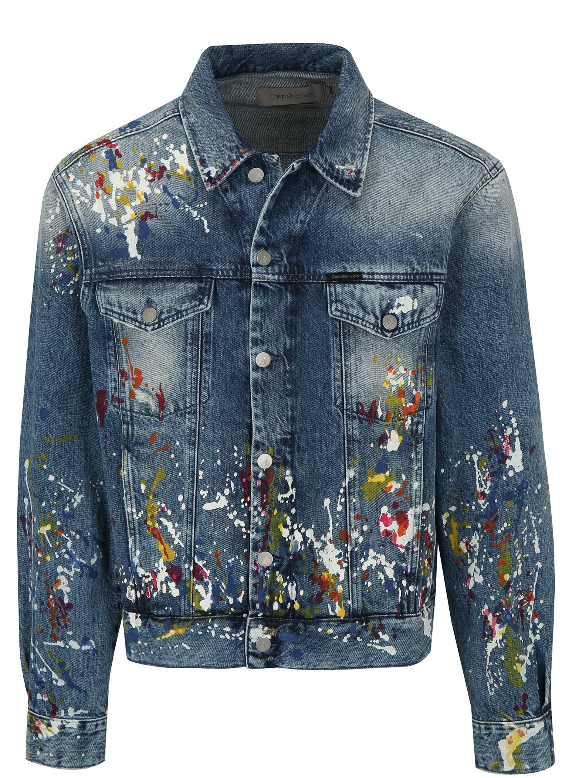 Fotografie Modrá pánská džínová bunda s potiskem Calvin Klein Jeans