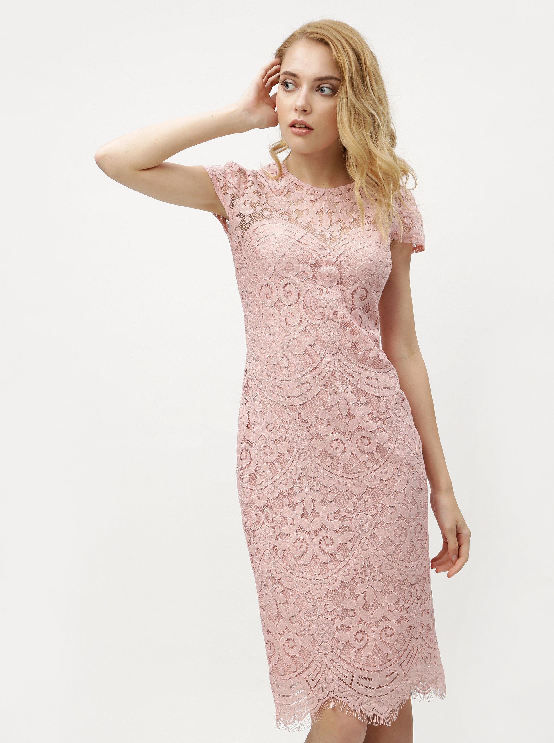 2c2b701dbd47 Svetloružové čipkované šaty ZOOT