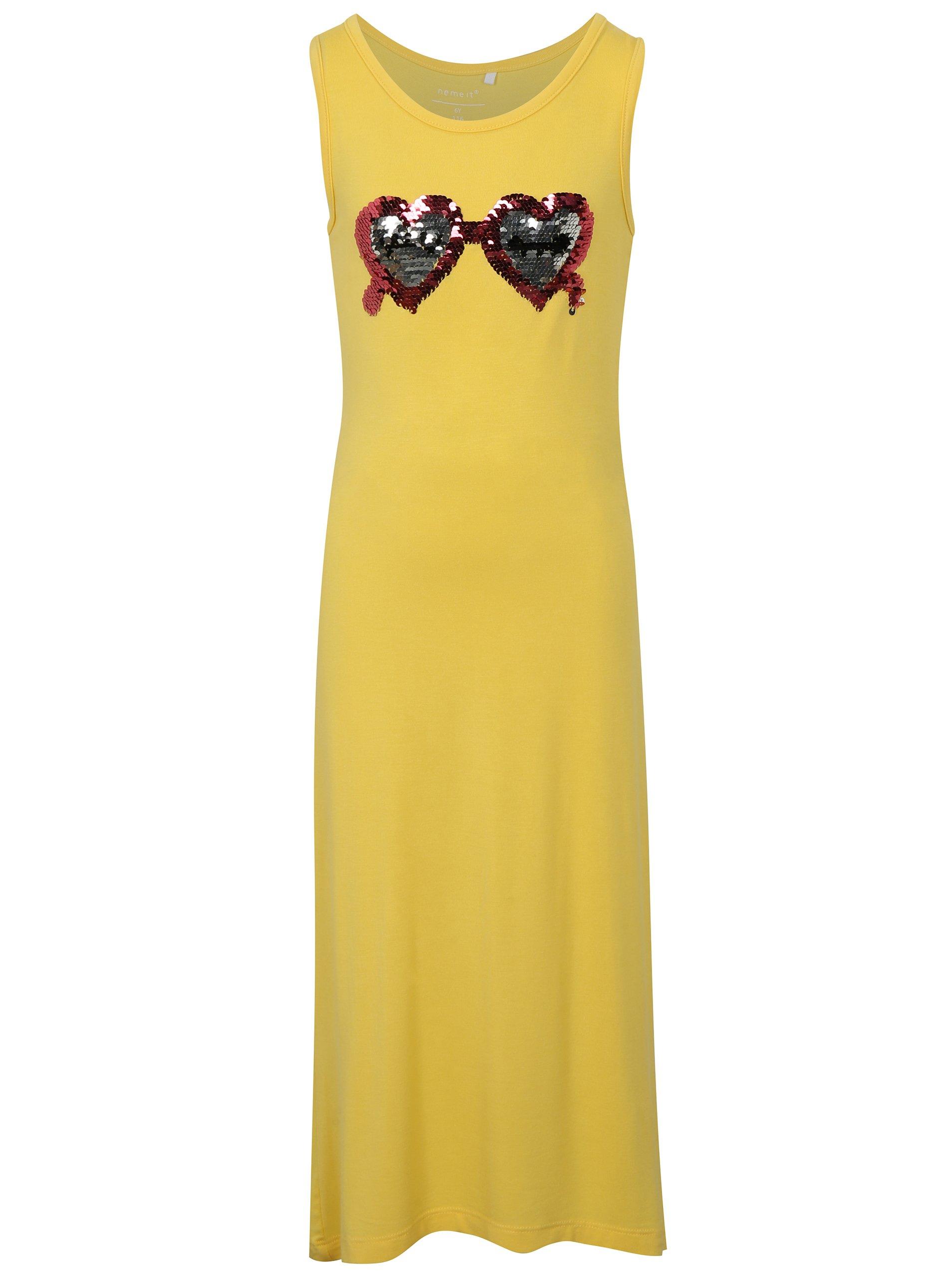 Žluté šaty s magickými flitry name it Jasmie