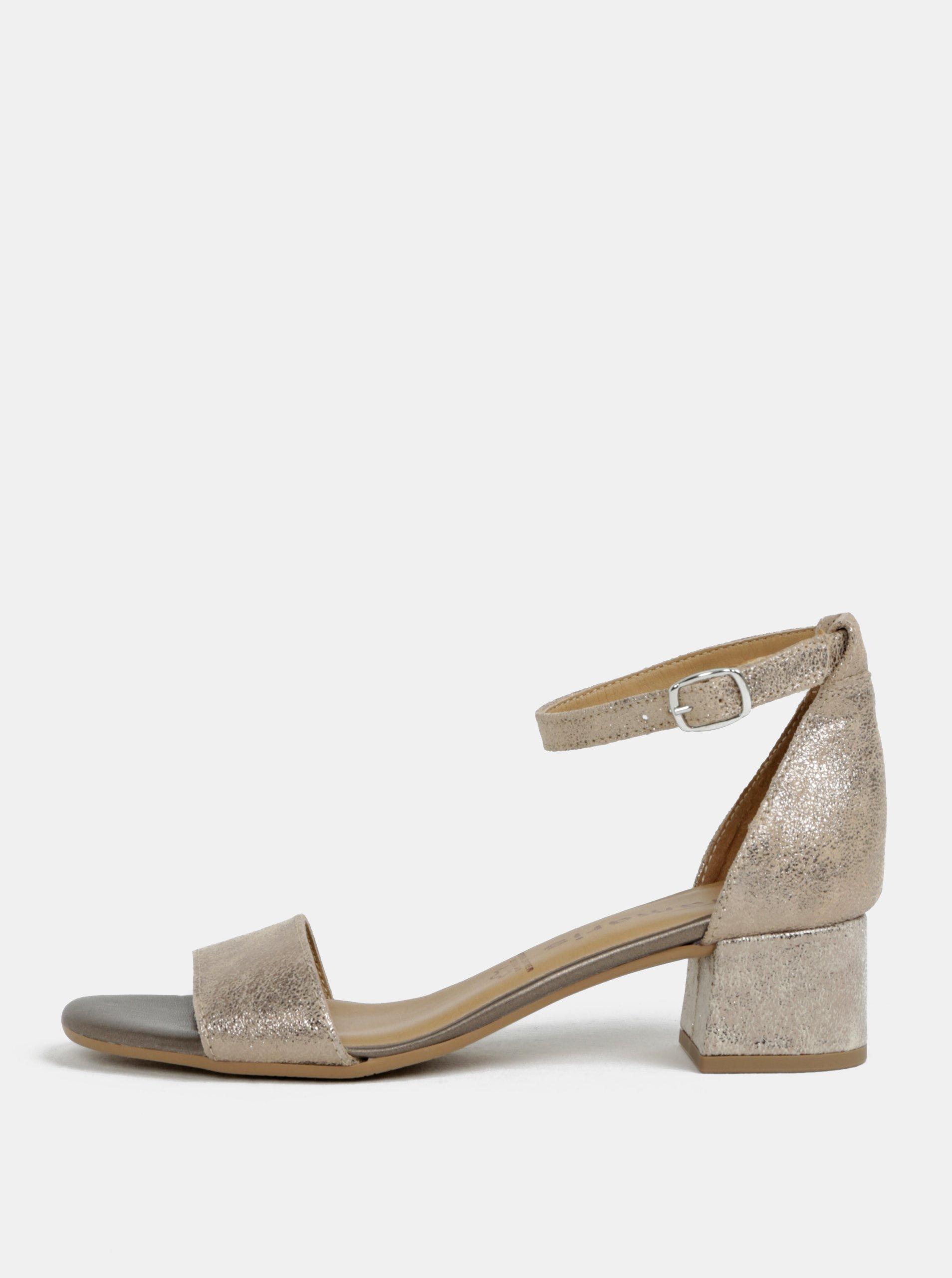 Kožené sandálky na podpätku v zlatej farbe Tamaris