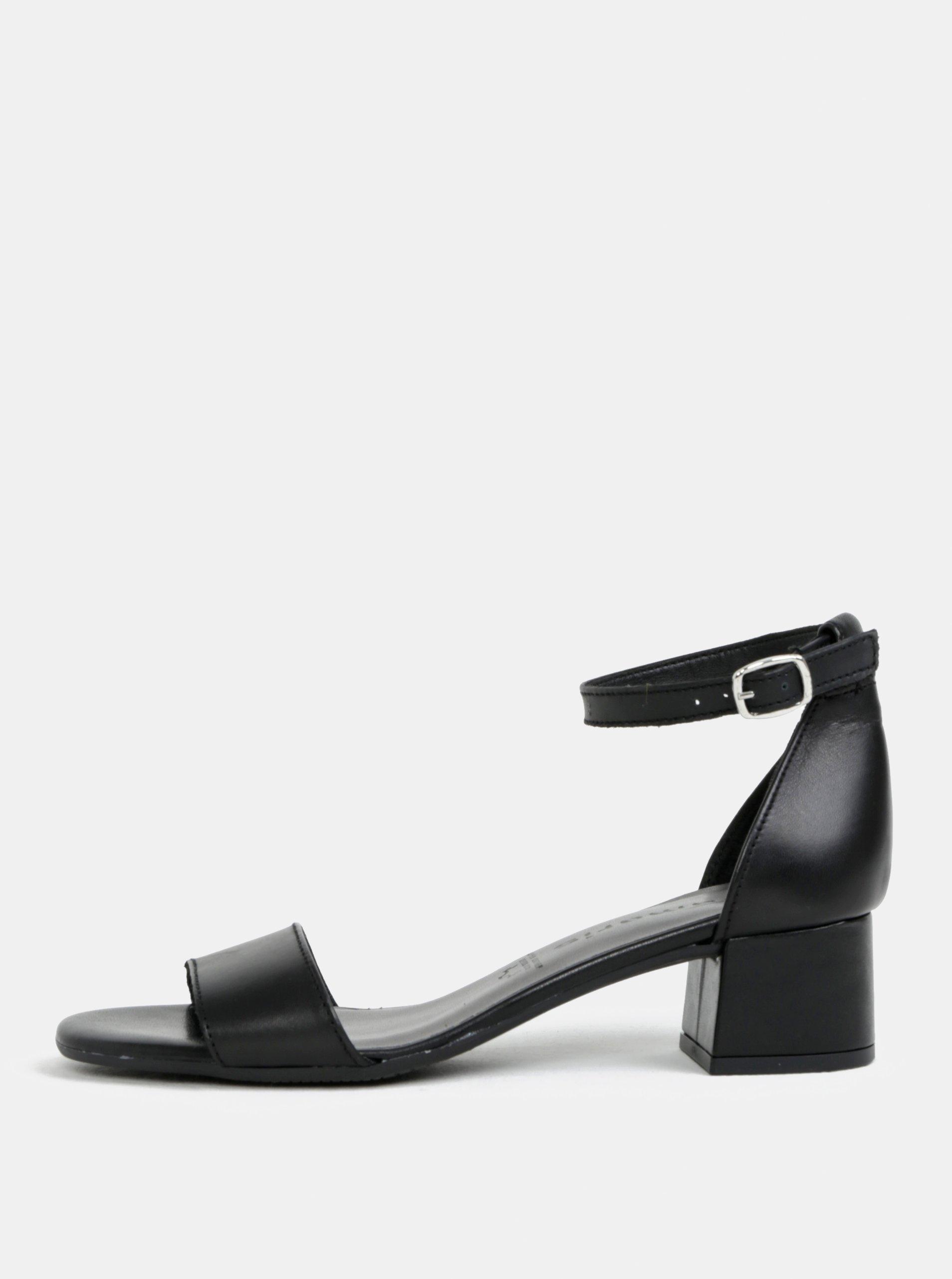 9abf475ed0ad Čierne kožené sandálky na podpätku Tamaris