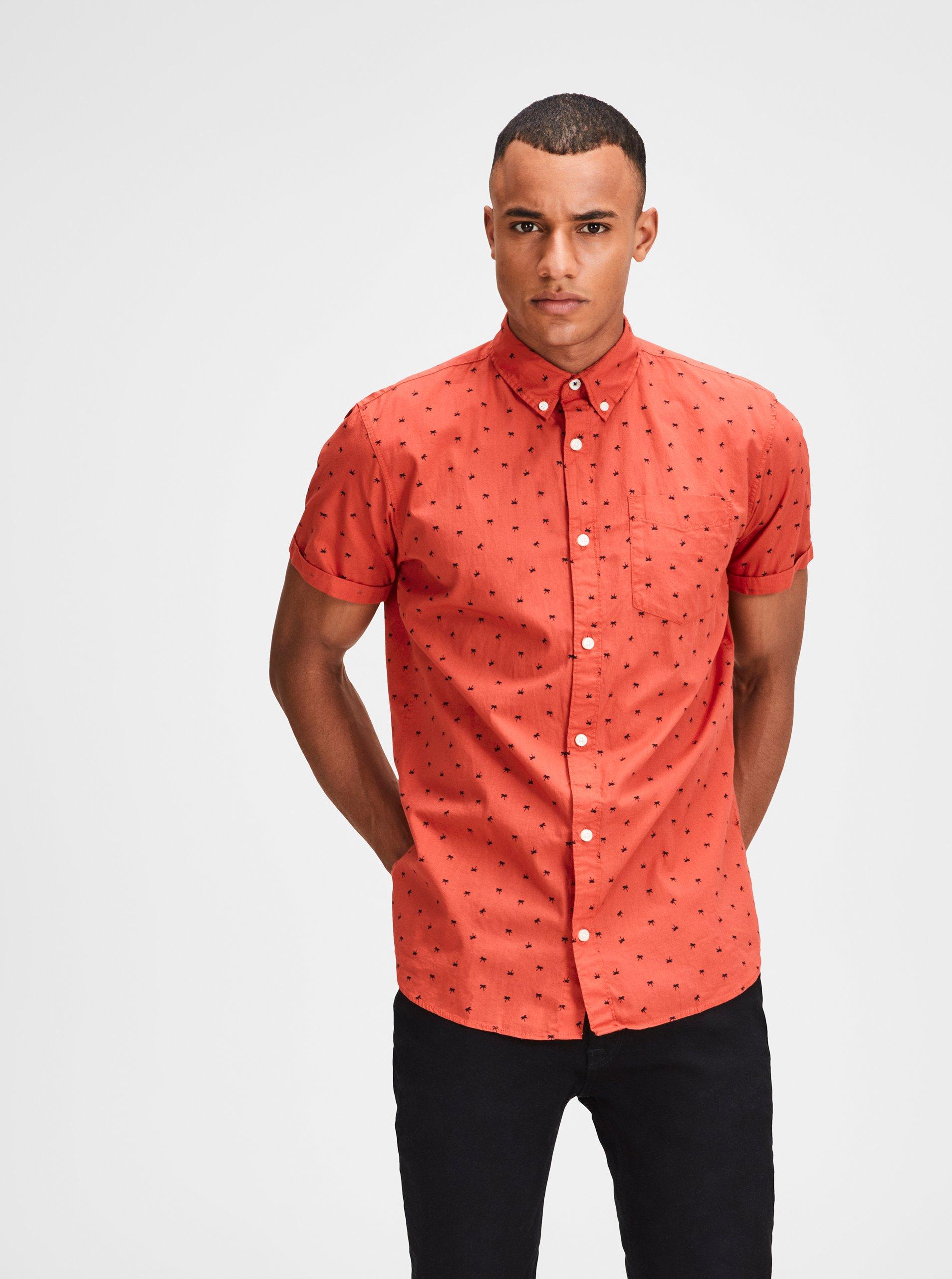 Červená košeľa s motívom palmy a krátkym rukávom Jack & Jones Cambridge