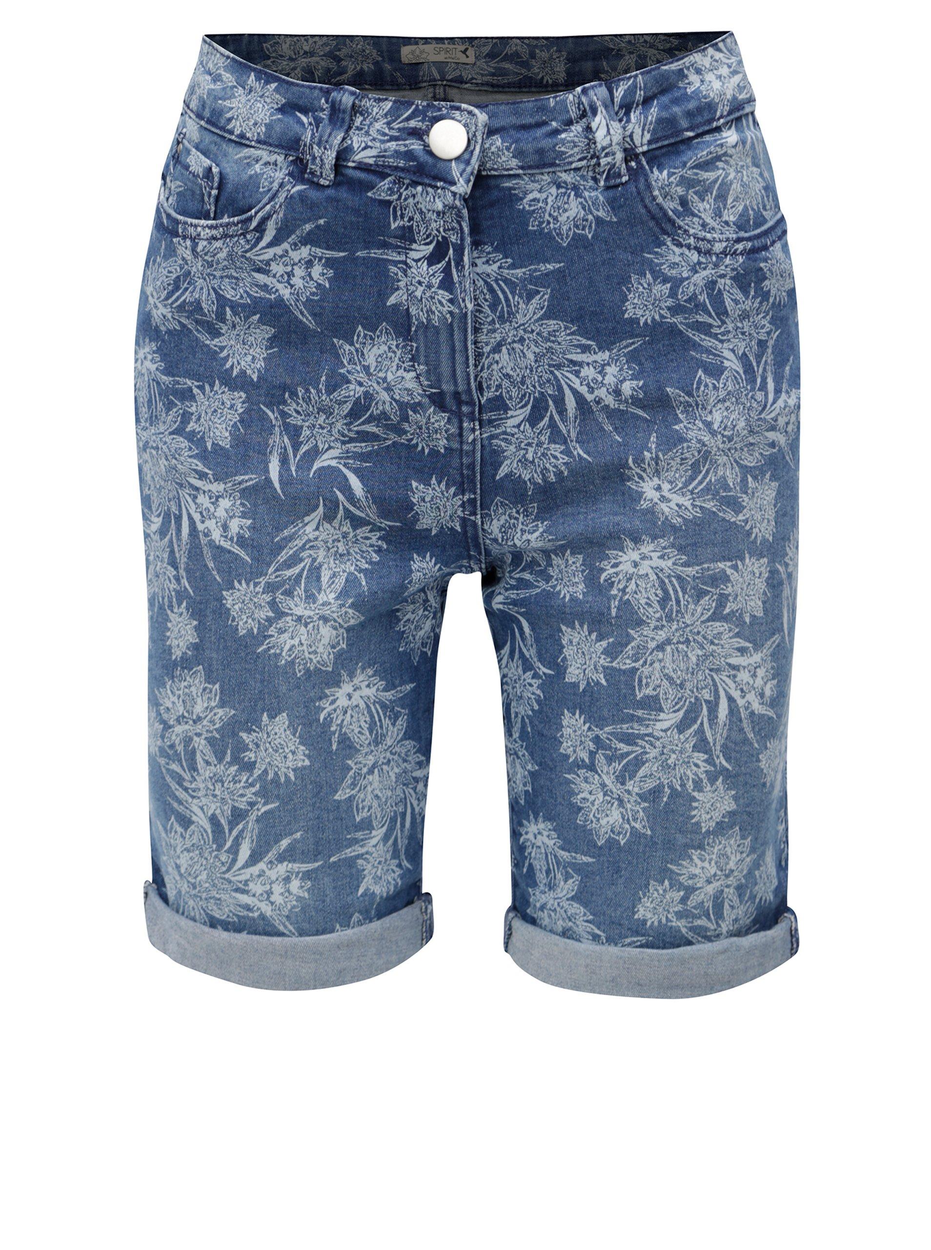 Modré dámske rifľové kvetované kraťasy M&Co