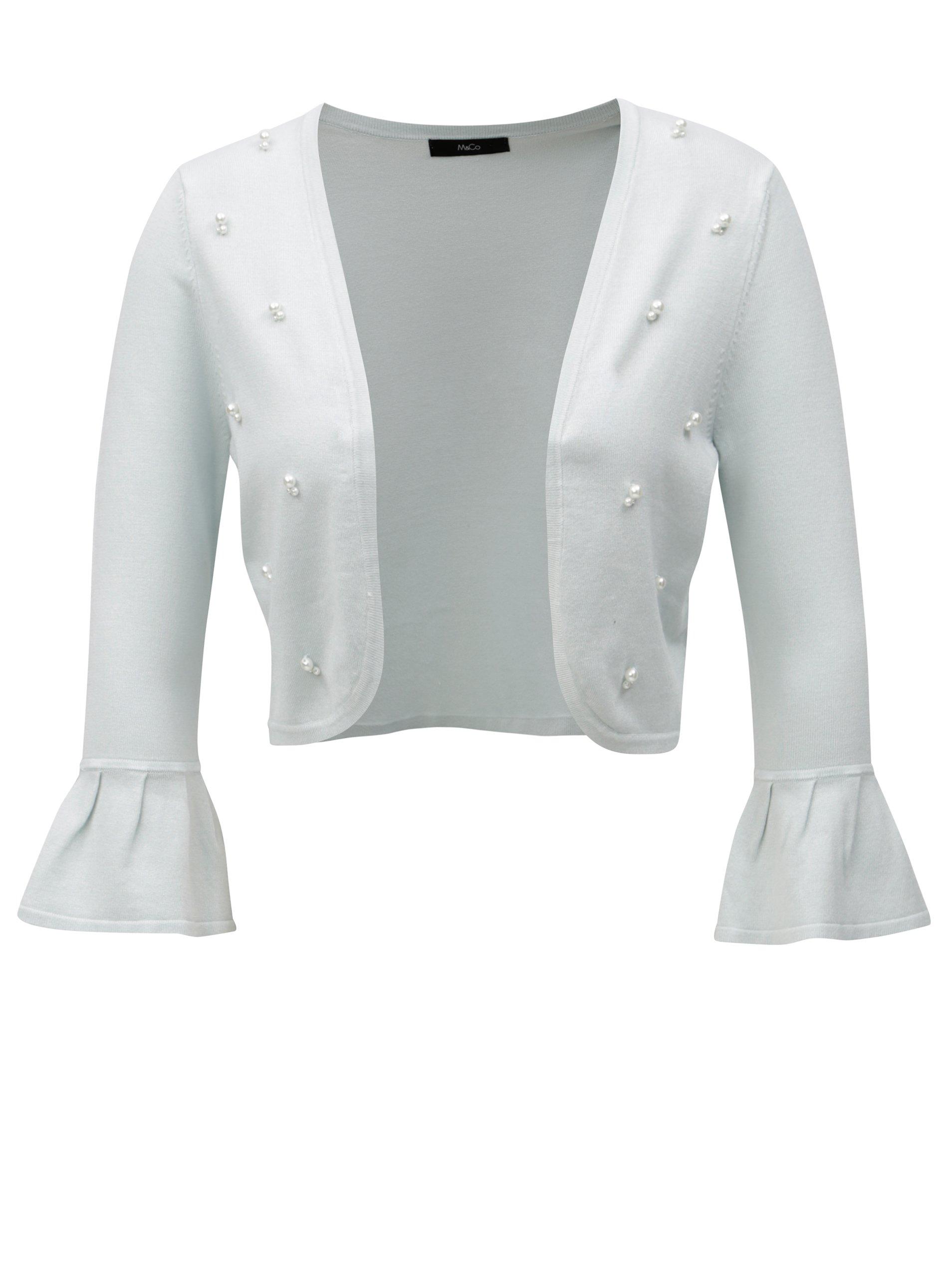 Mentolové bolerko s korálky ve tvaru perel M&Co Cardi