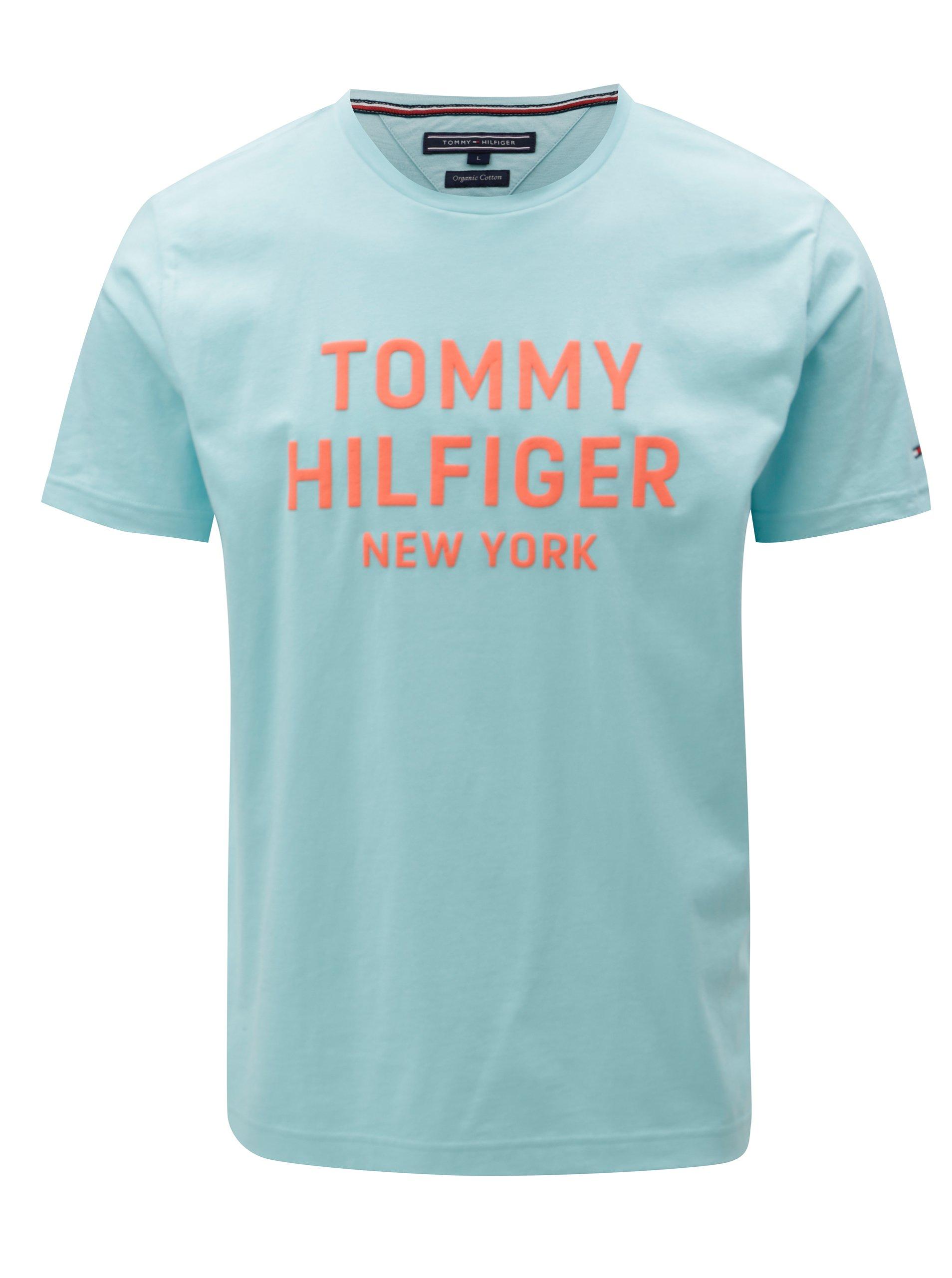 Oranžovo-tyrkysové pánské tričko s potiskem Tommy Hilfiger