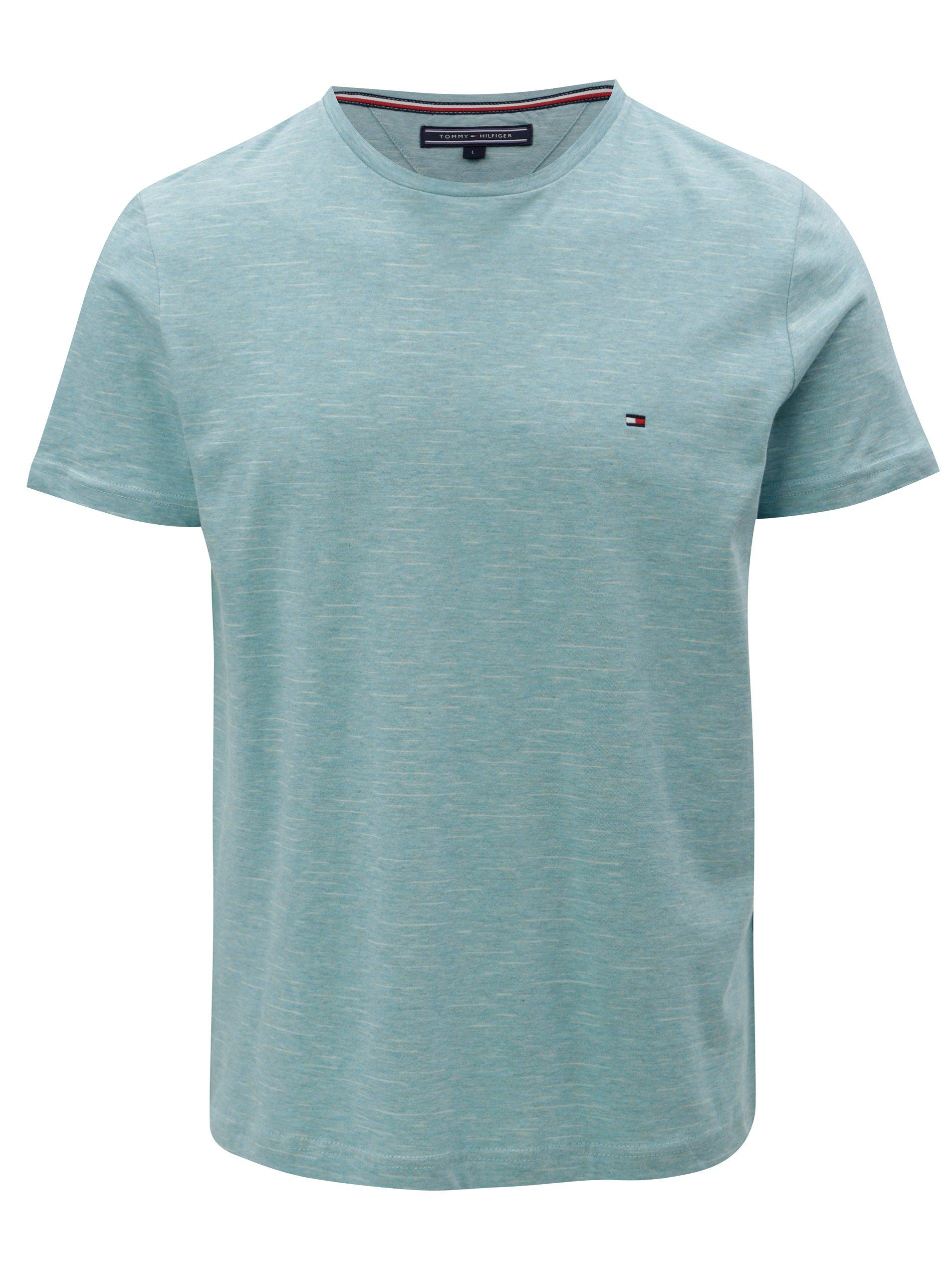 Tyrkysové žíhané pánské tričko Tommy Hilfiger