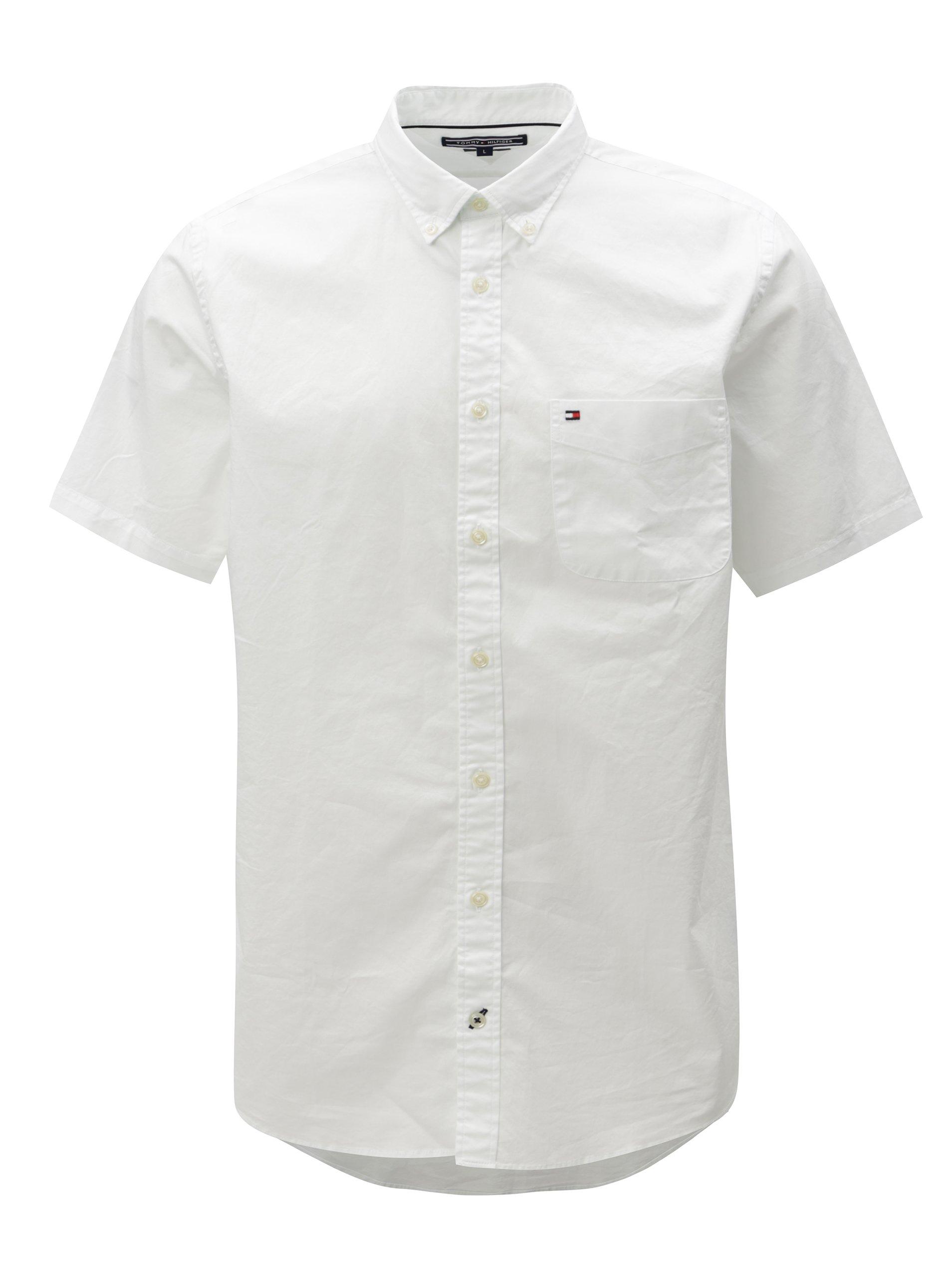 Bílá pánská košile s krátkým rukávem Tommy Hilfiger b4132ee61f
