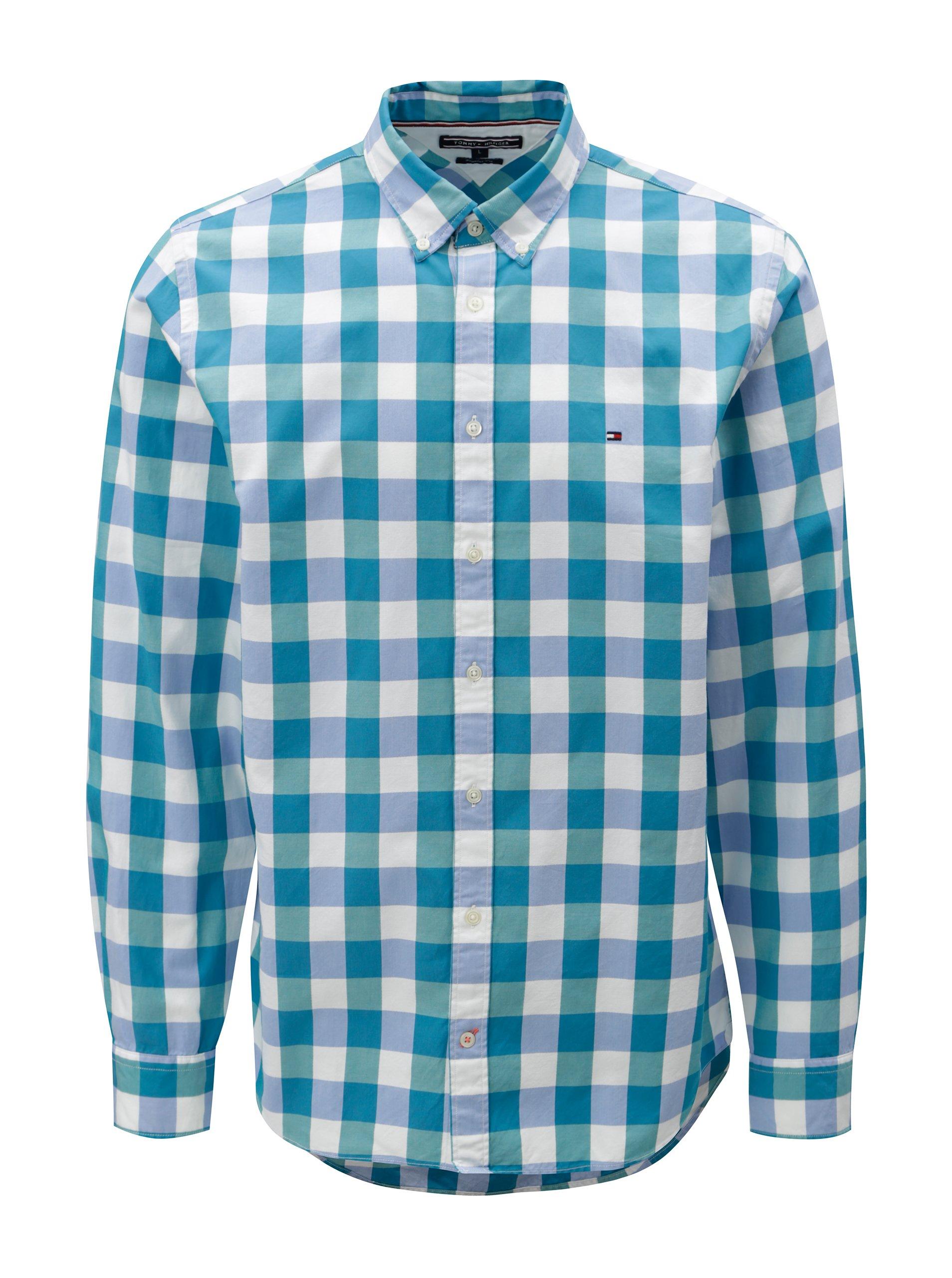 Bílo-zelená pánská kostkovaná regular fit košile Tommy Hilfiger ee538b0ad0