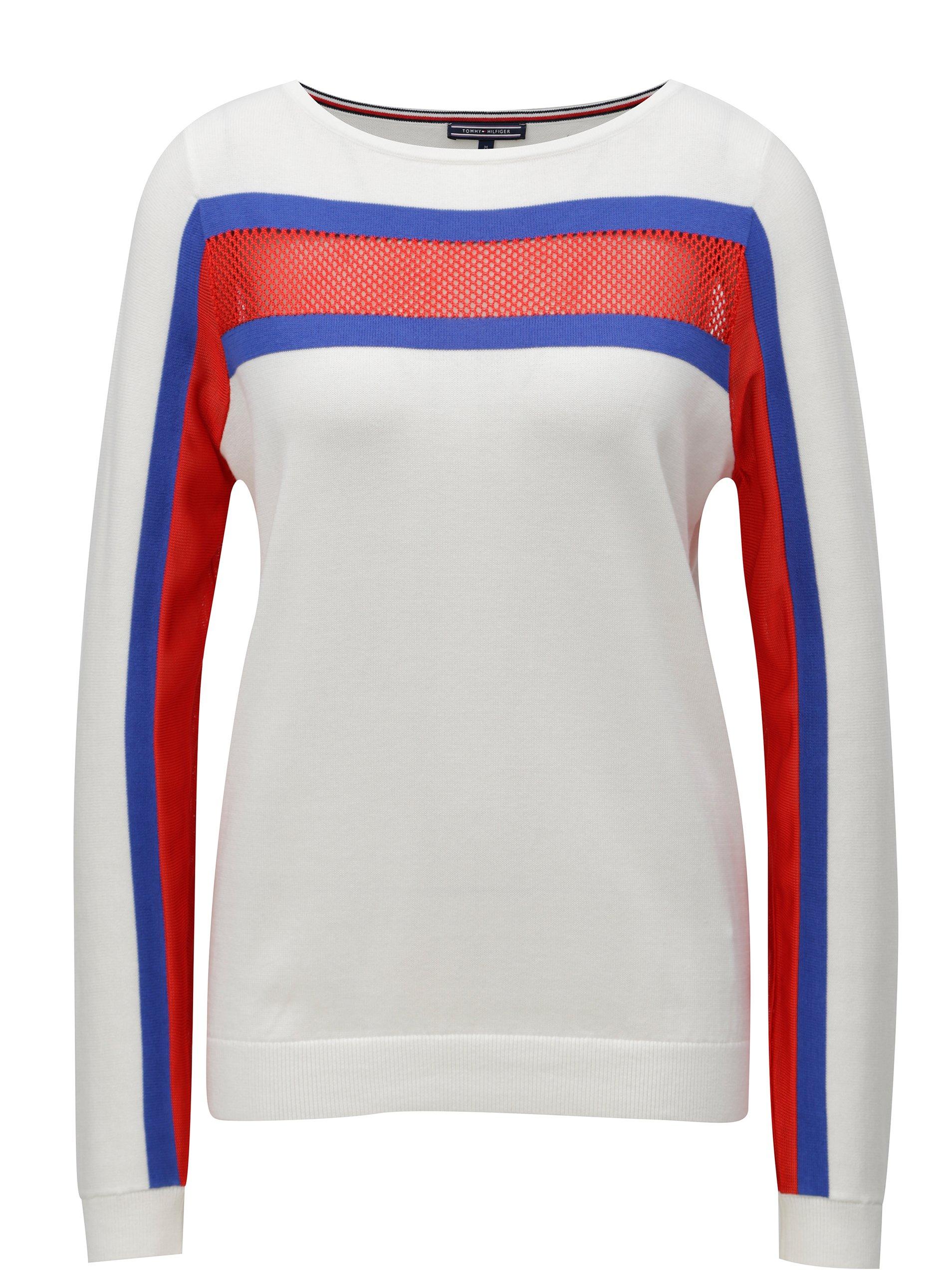Fotografie Bílé dámské svetrové tričko s dlouhým rukávem Tommy Hilfiger