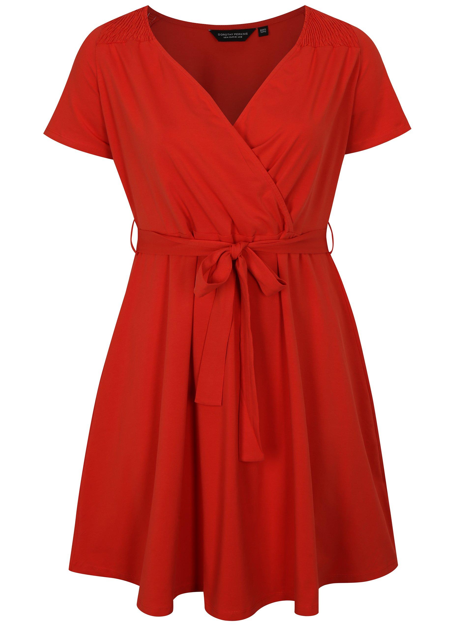 Červené šaty s prekladaným výstrihom Dorothy Perkins Curve