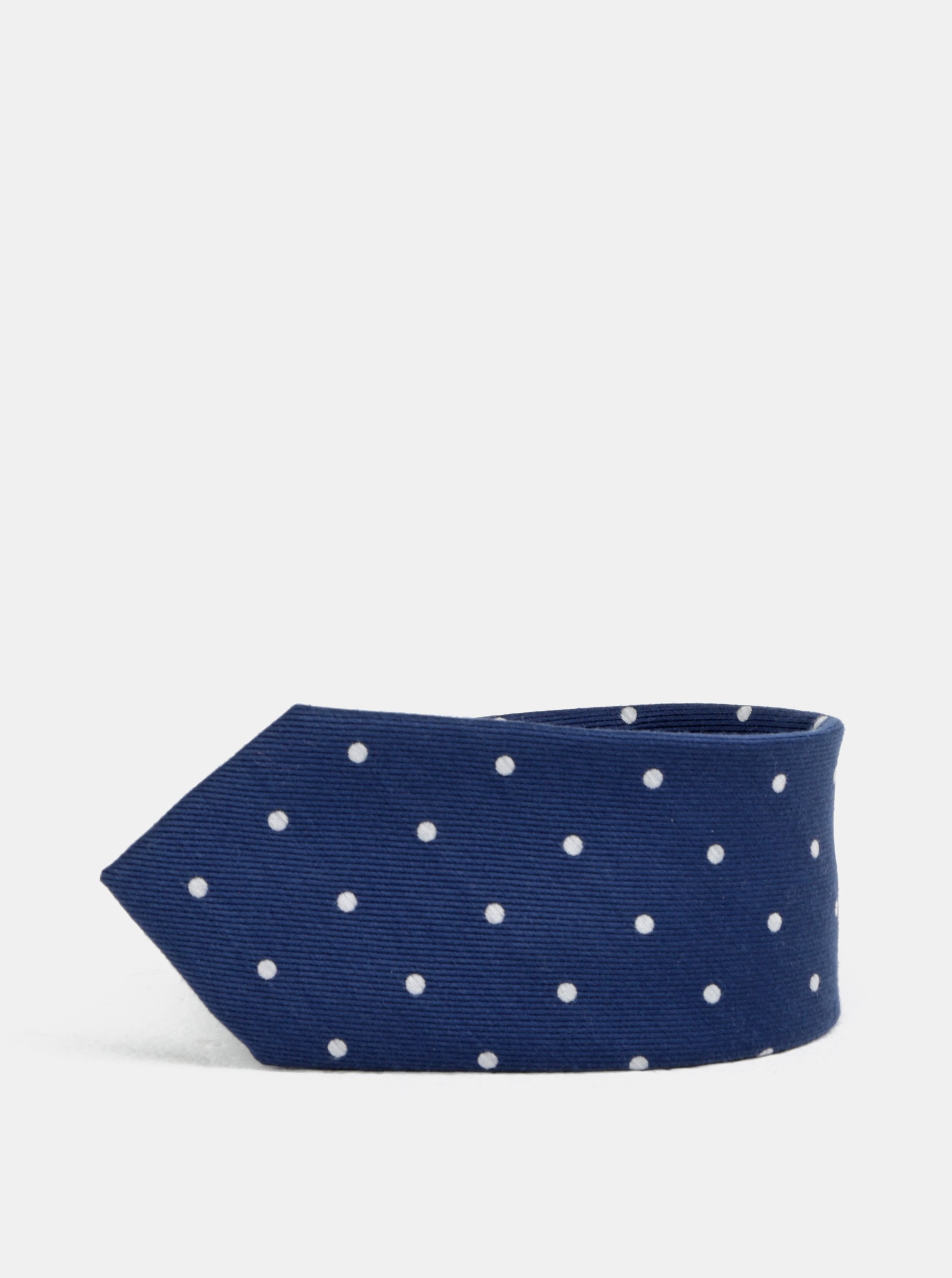 Tmavě modrá puntíkovaná slim kravata Jack & Jones