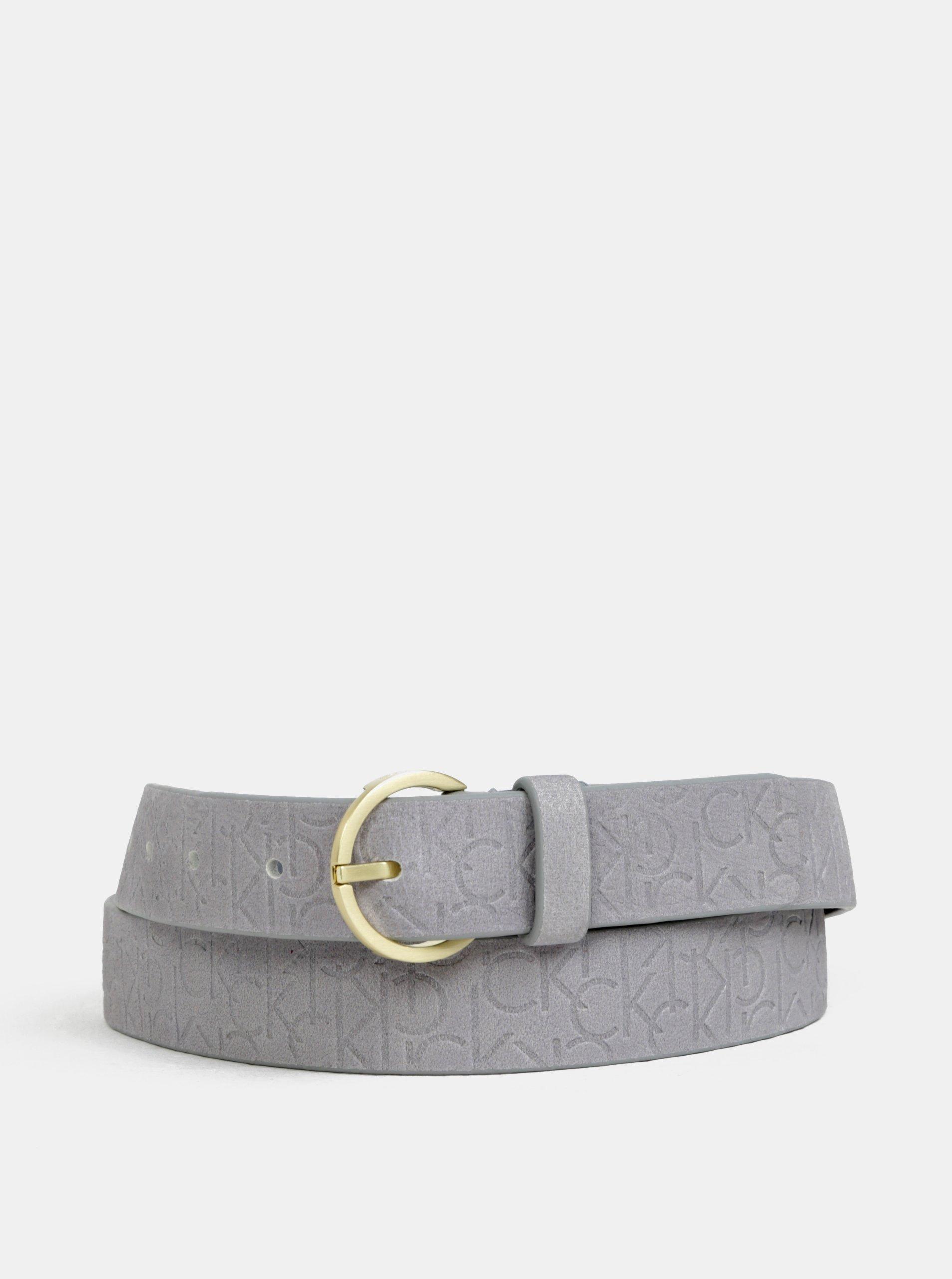 Šedý dámský kožený pásek Calvin Klein Jeans