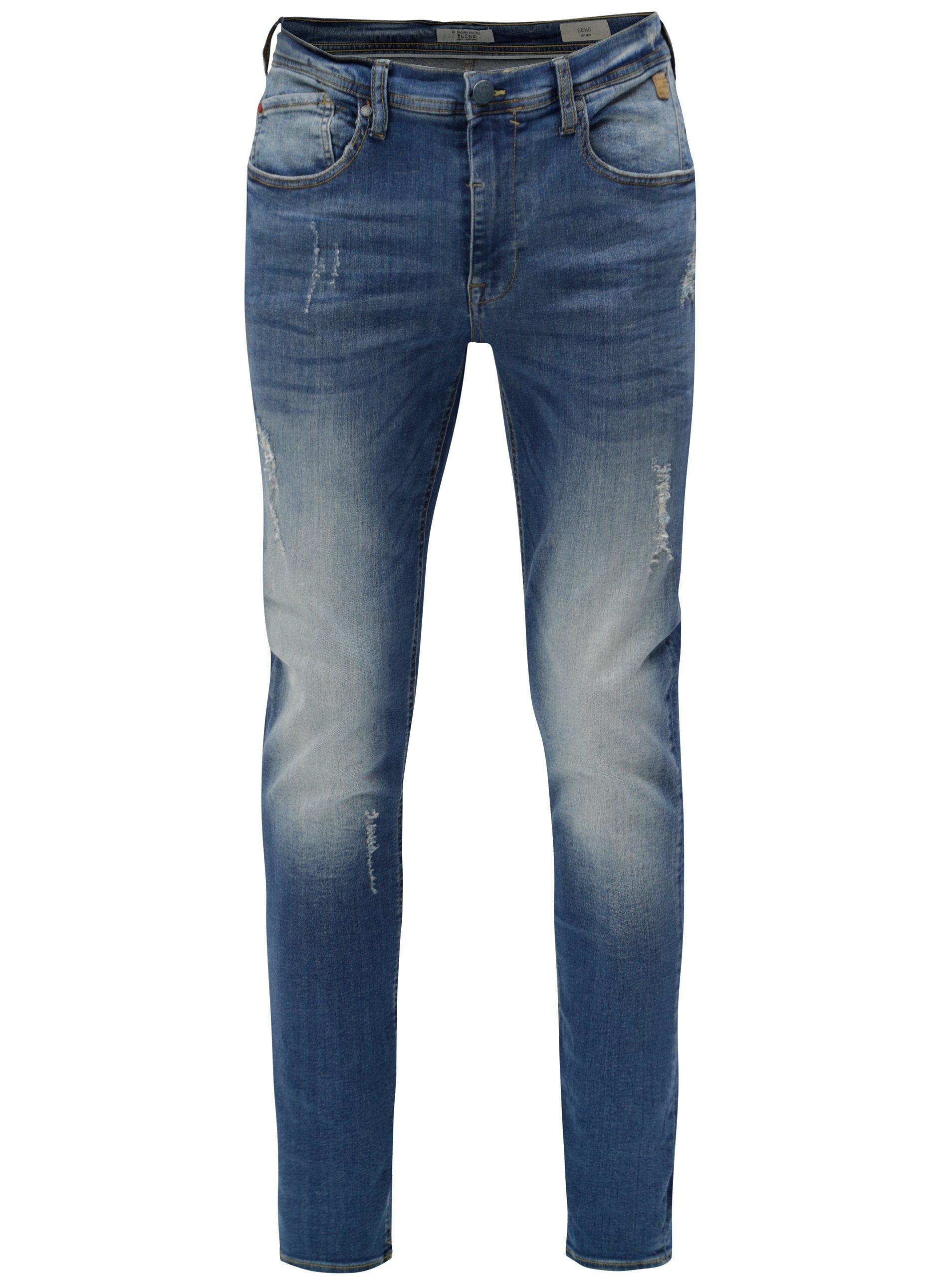 1f670fddcd Modré skinny džíny s vyšisovaným a potrhaným efektem Blend