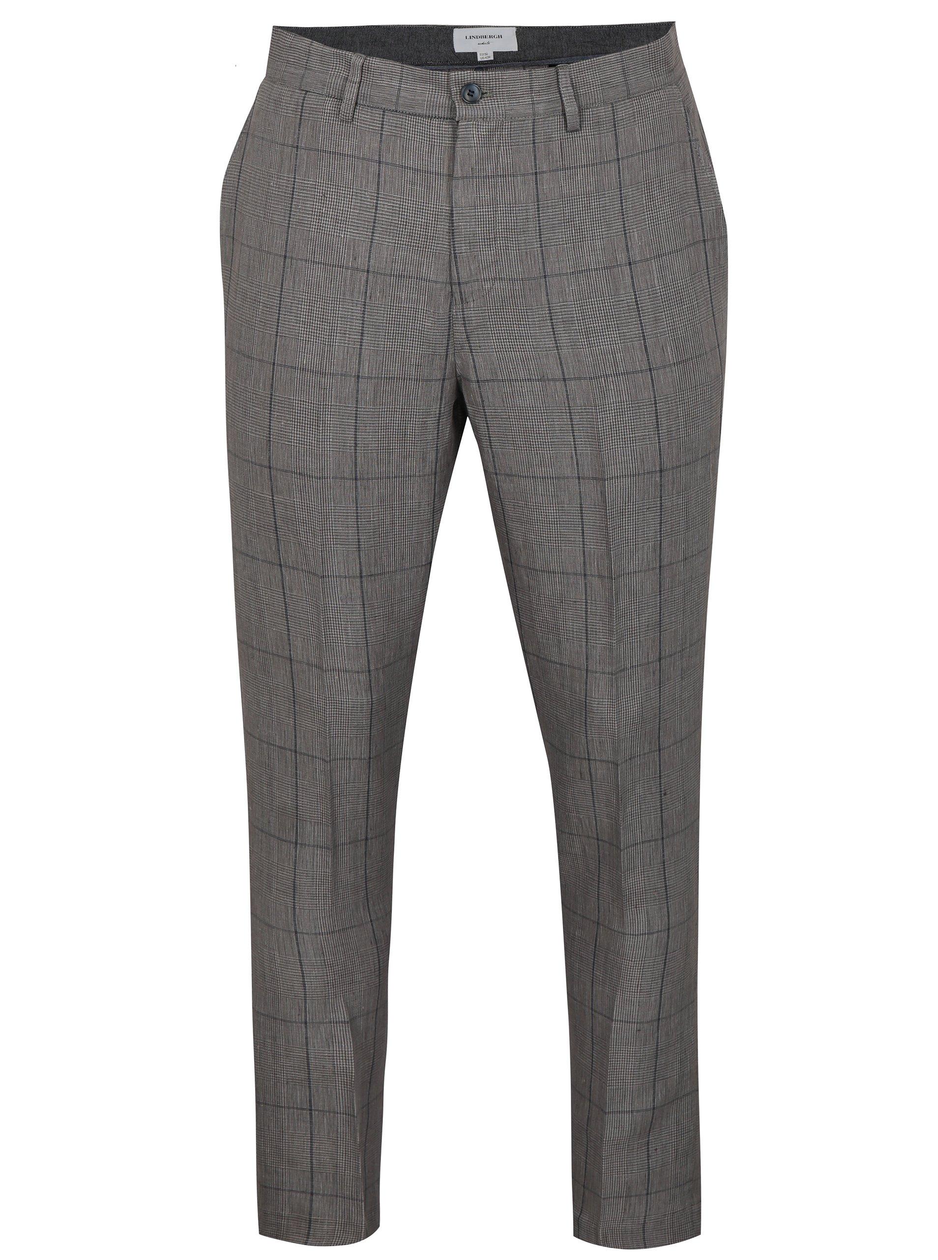 Šedé kostkované lněné kalhoty Lindbergh