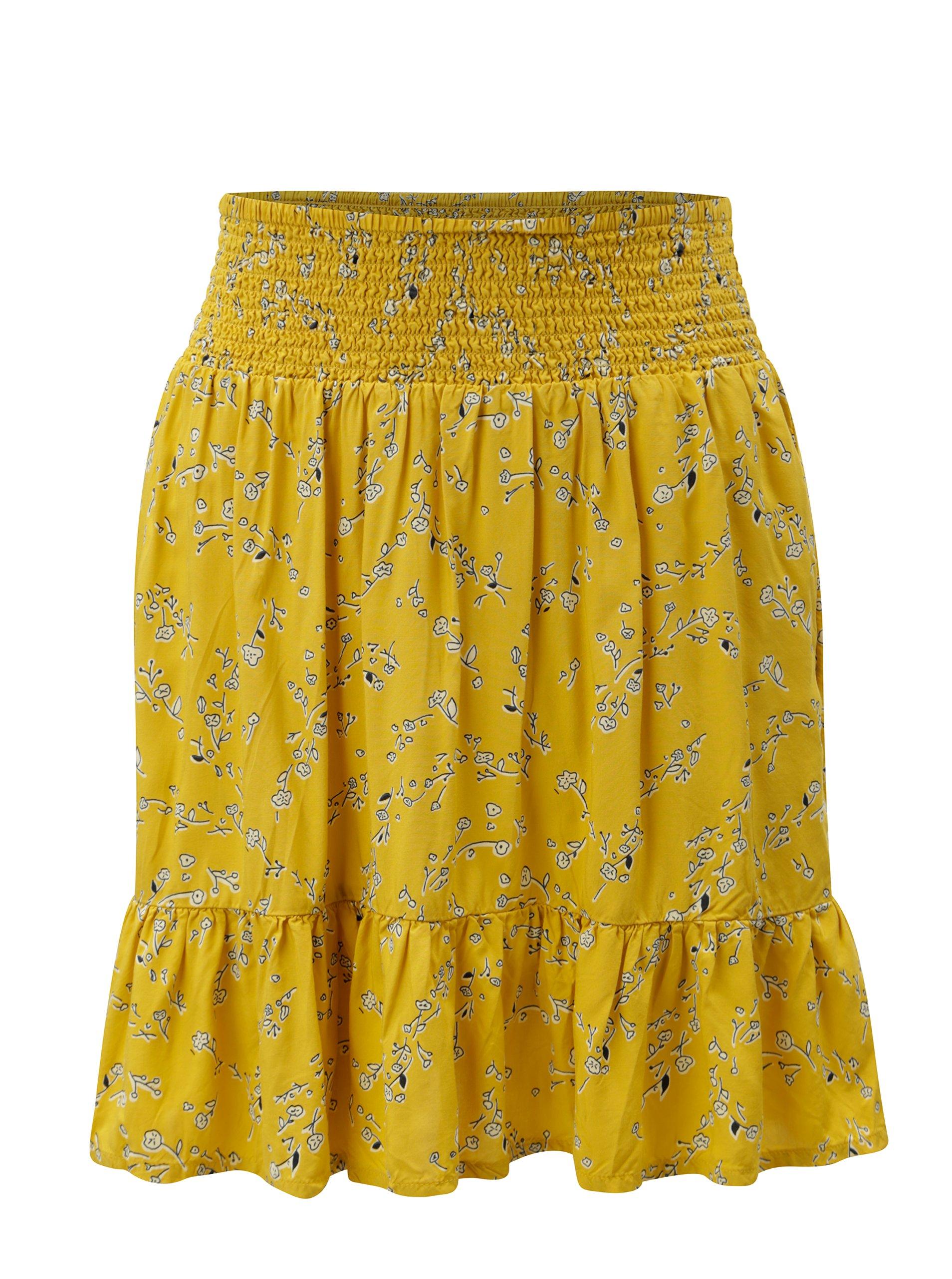 Hořčicová vzorovaná sukně Blendshe Yellow