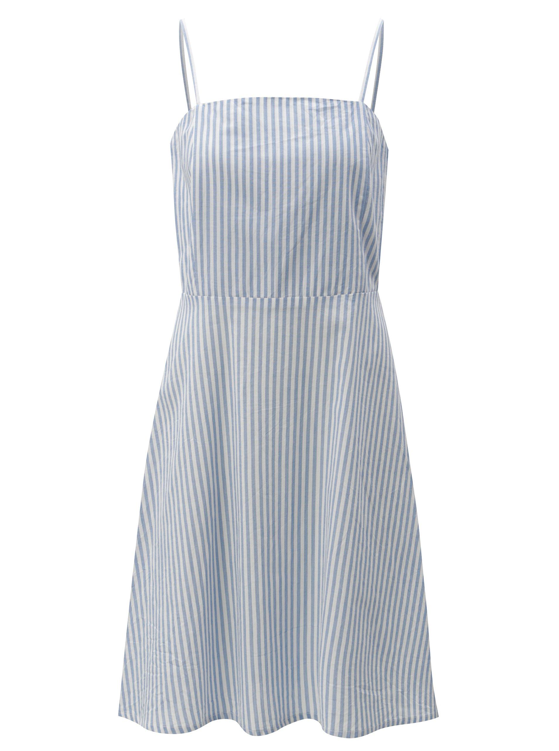 Světle modré pruhované šaty na ramínka Blendshe Camilia