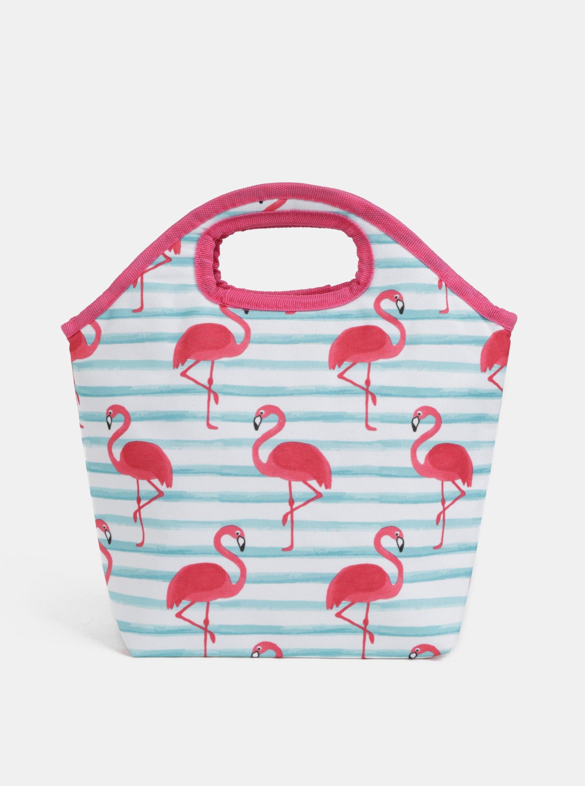 Bielo-ružová pruhovaná termo taška s motívom plameniakov Kaemingk