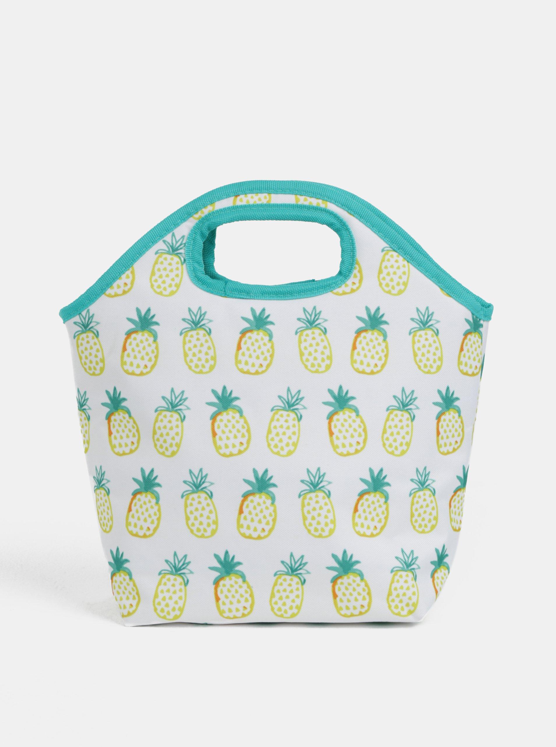 Bielo-zelená termo taška s motívom ananásov Kaemingk