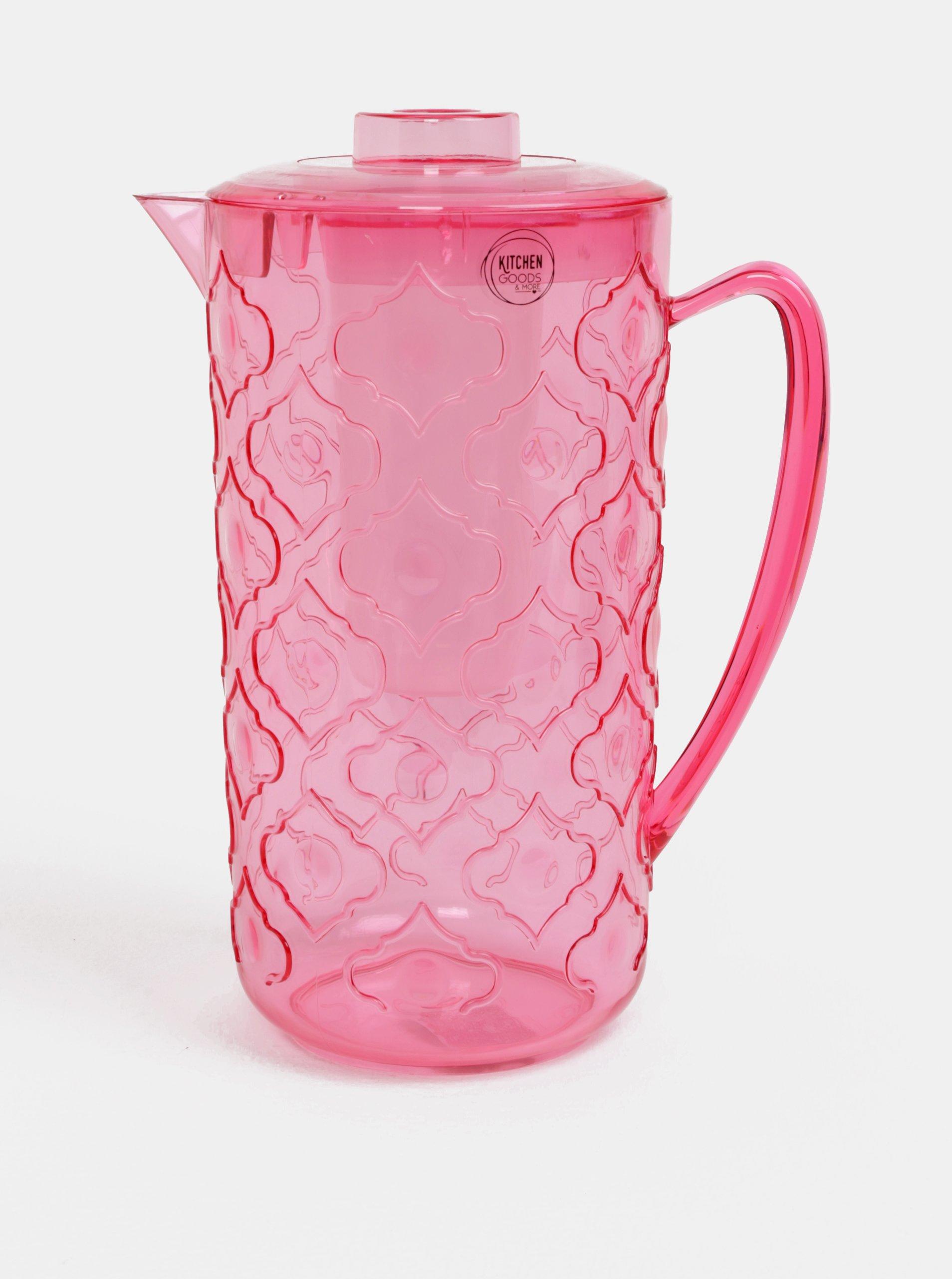 Ružový vzorovaný džbánik na vodu s téglikom Kaemingk
