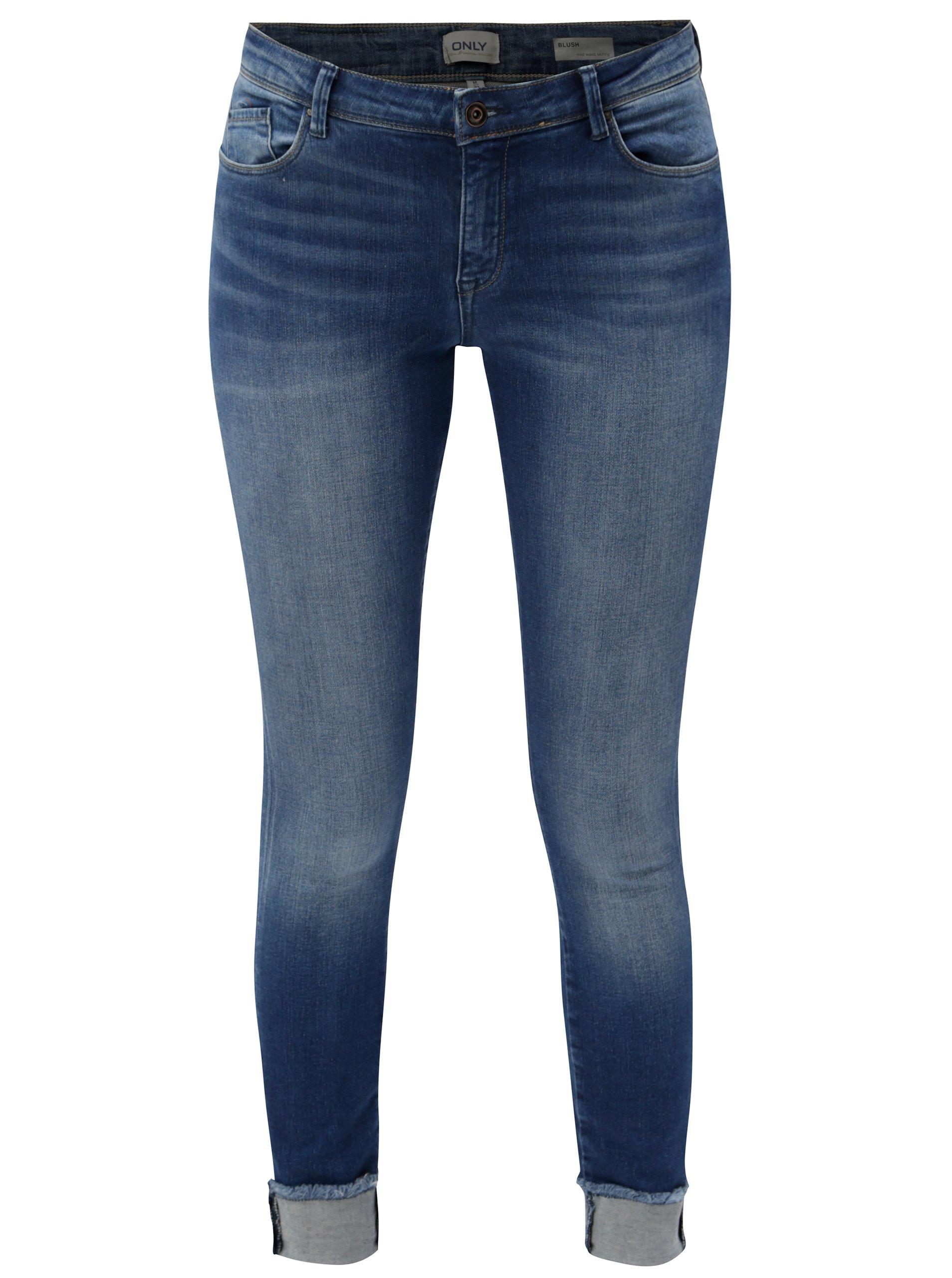 Modré regular skinny džíny s vyšisovaným efektem ONLY Carmen