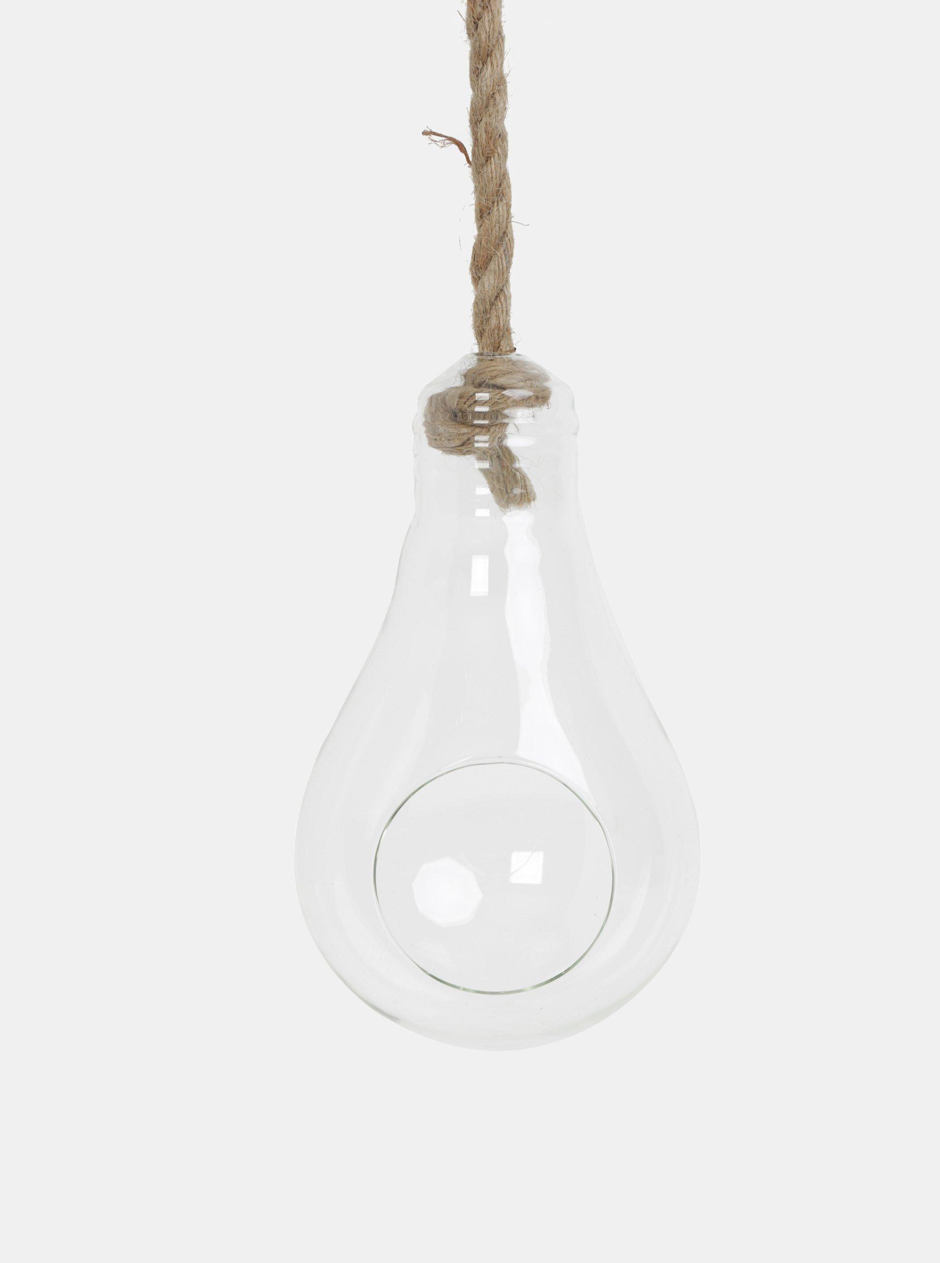 Fotografie Závěsný skleněný květináč ve tvaru žárovky Kaemingk