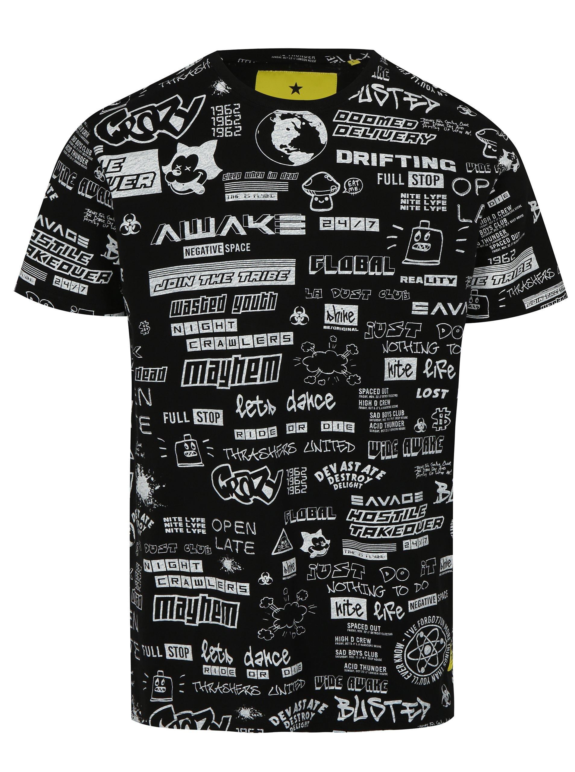 bceceeea1bcd Čierne tričko s bielou potlačou Shine Original