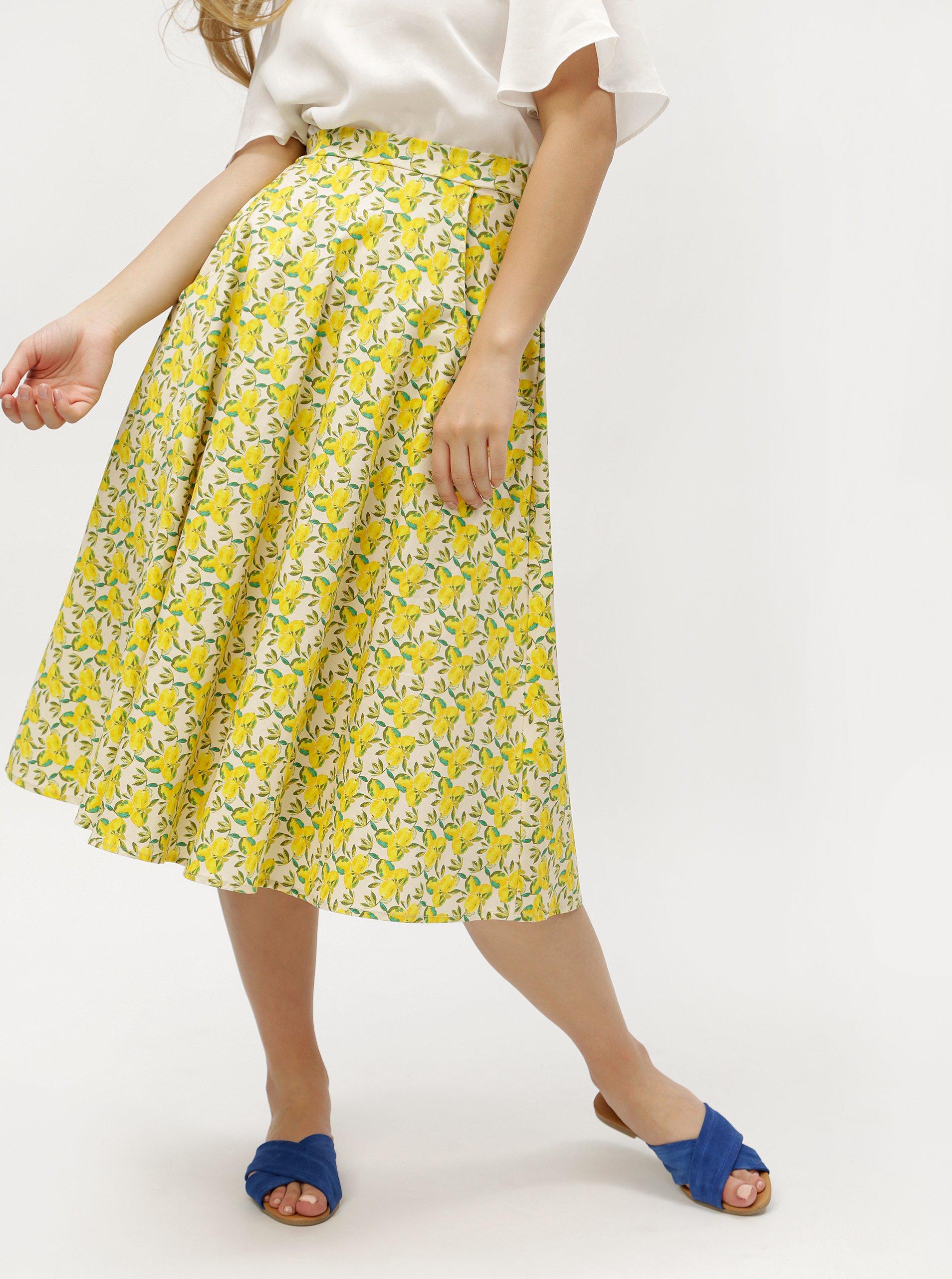 5d456e7fb08f Krémovo-žlutá vzorovaná sukně ZOOT