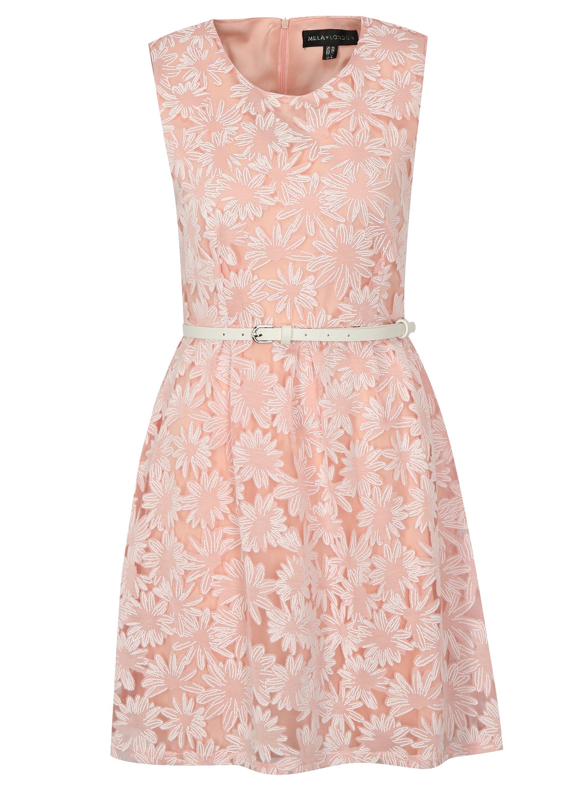Bílo-růžové šaty s páskem Mela London