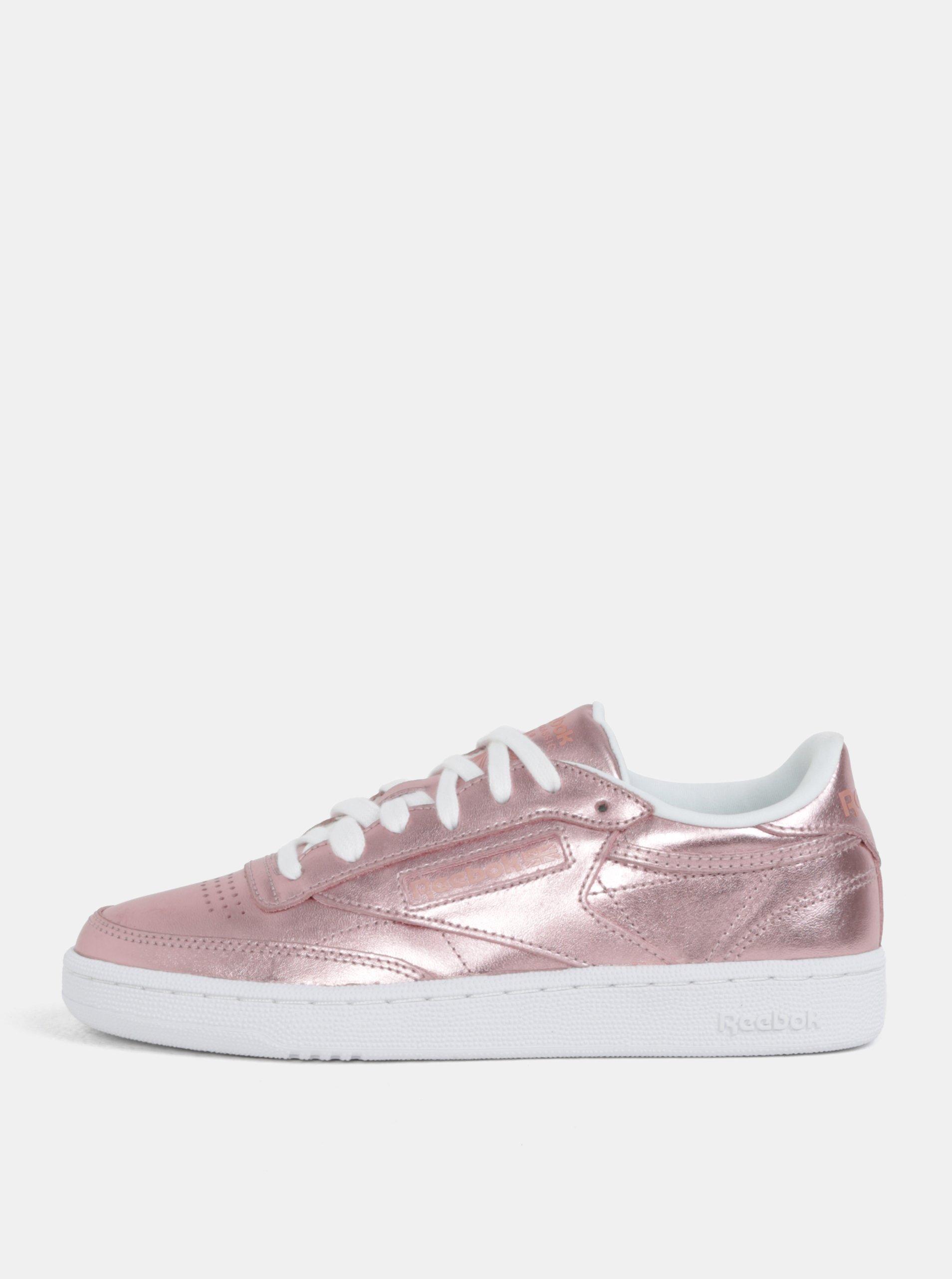 1149e33ba6 Růžové dámské metalické kožené tenisky Reebok Club C 85