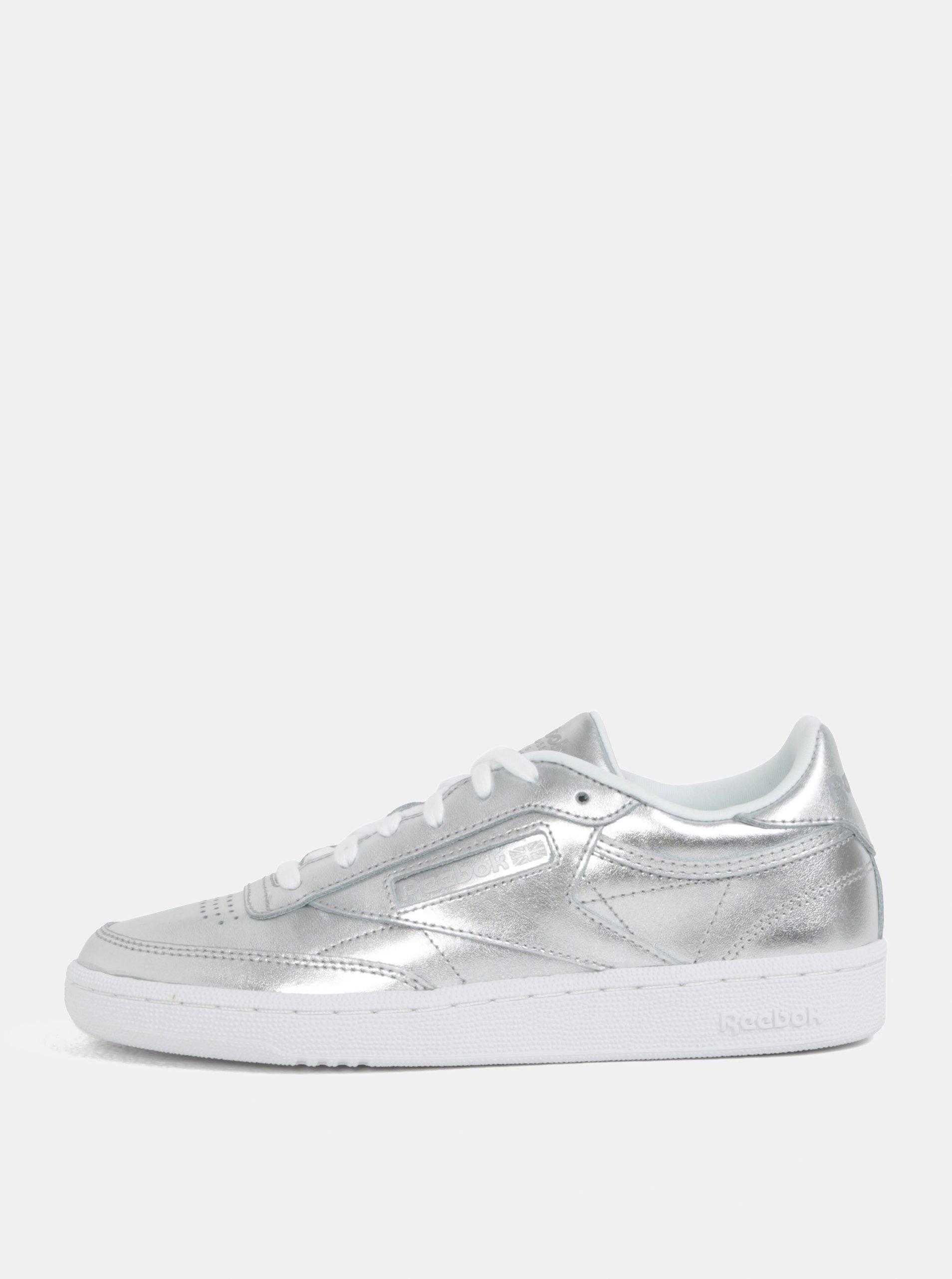 Dámské kožené tenisky ve stříbrné barvě Reebok Club C 85 473a7c2767c