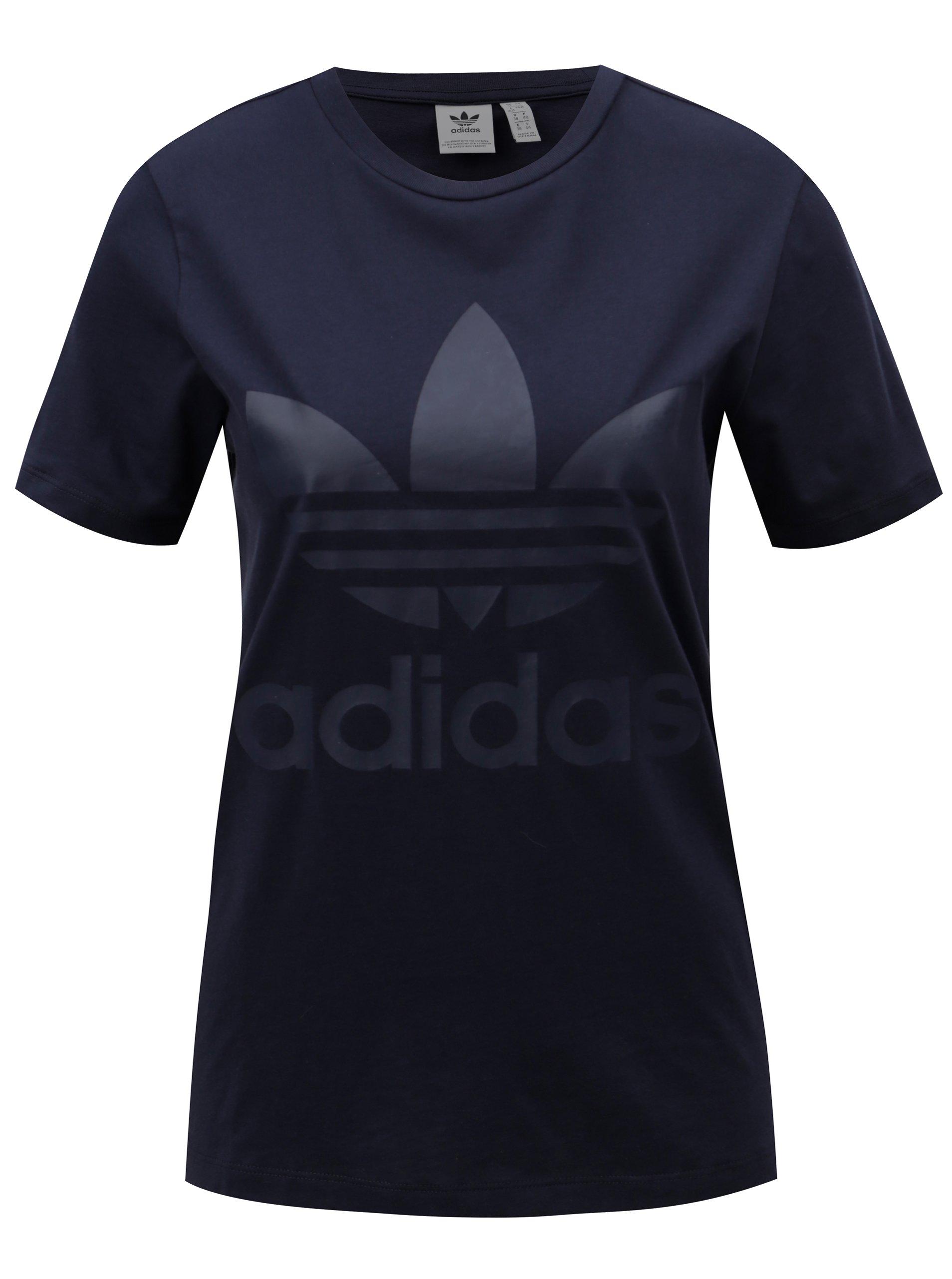 Tmavě modré dámské tričko s potiskem adidas Originals