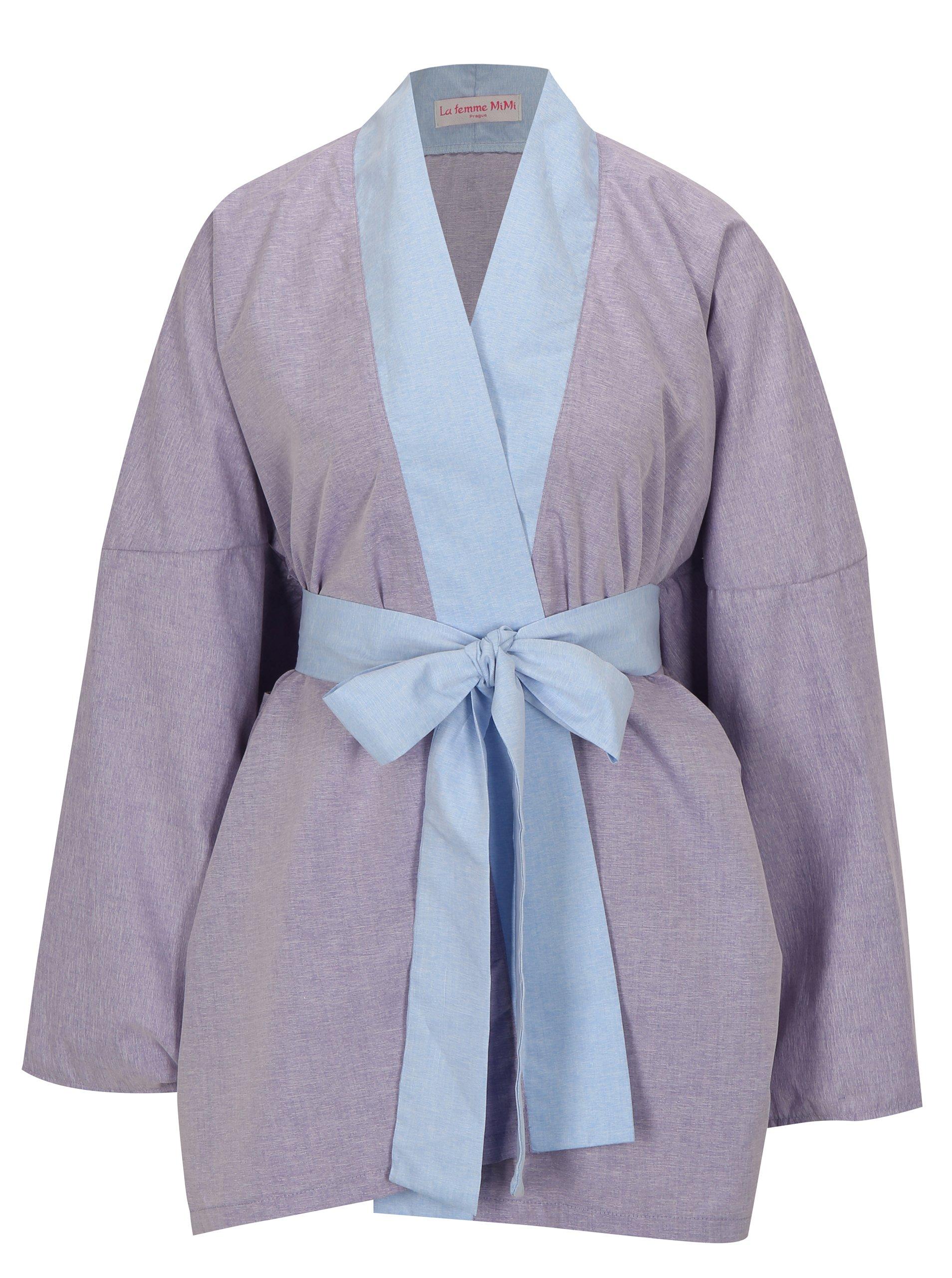Svetlofialové kimono s nášivkou na chrbte La femme MiMi