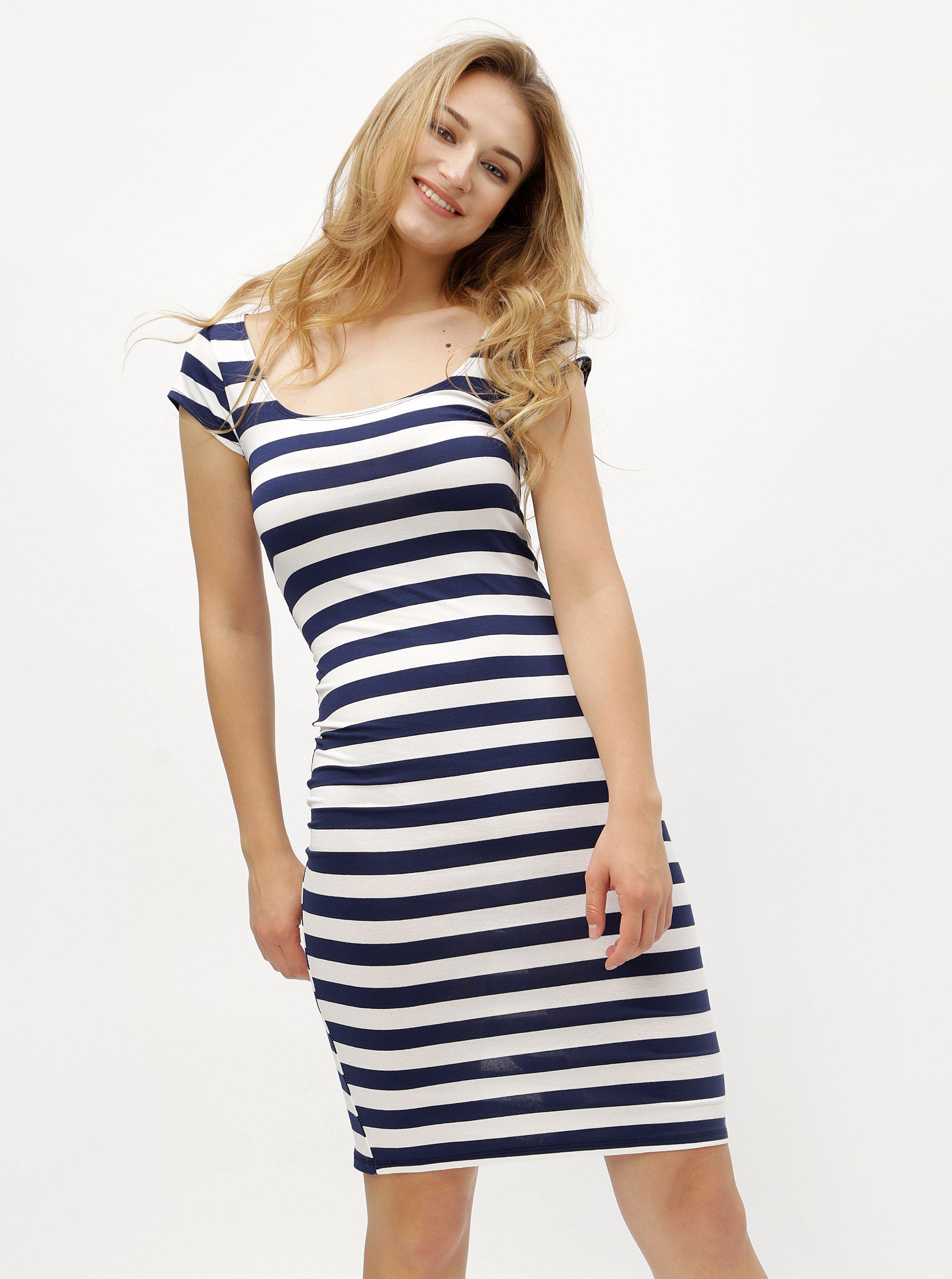 0db9f2633b7 Bílo-modré pruhované pouzdrové šaty s kulatým výstřihem ZOOT