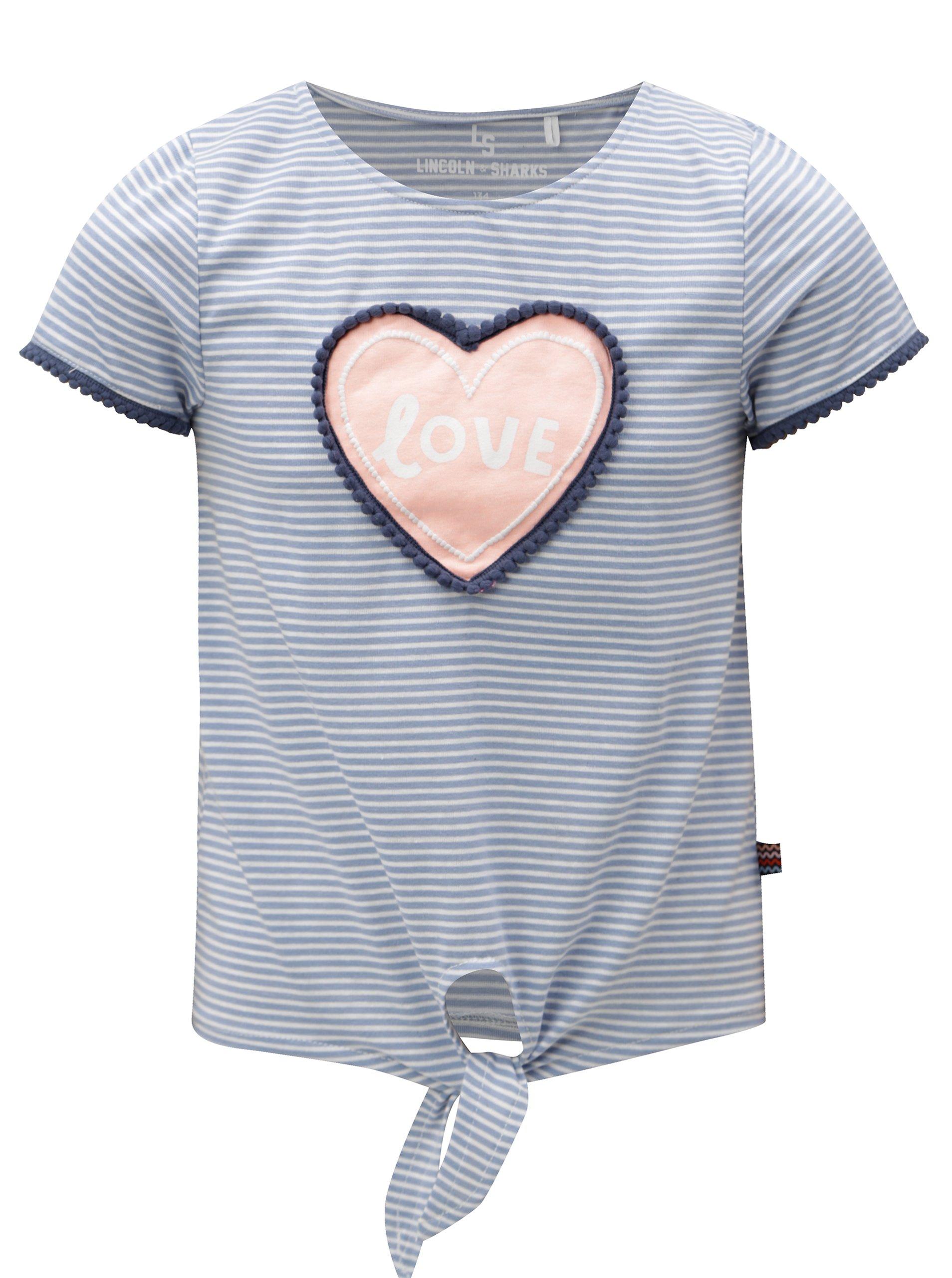 Modré dievčenské pruhované tričko s uzlom 5.10.15.