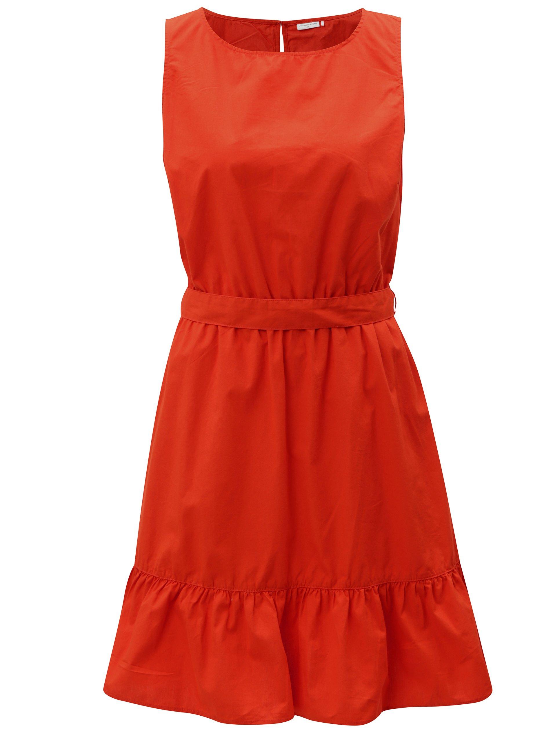 004968222181 Červené šaty s volánom a zaväzovaním Jacqueline de Yong Damilla