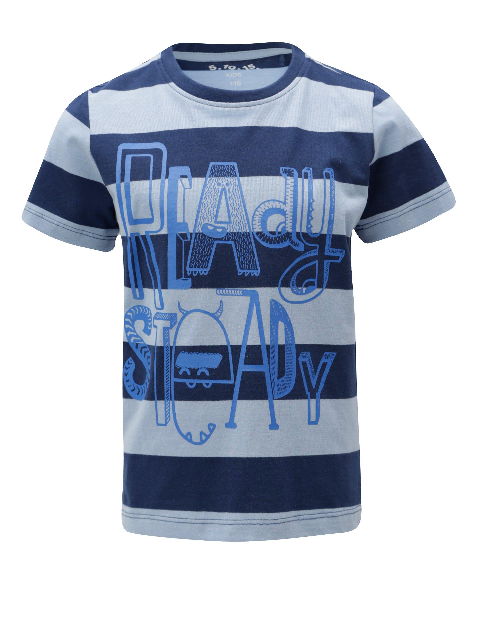 Modré chlapčenské pruhované tričko s potlačou 5.10.15.
