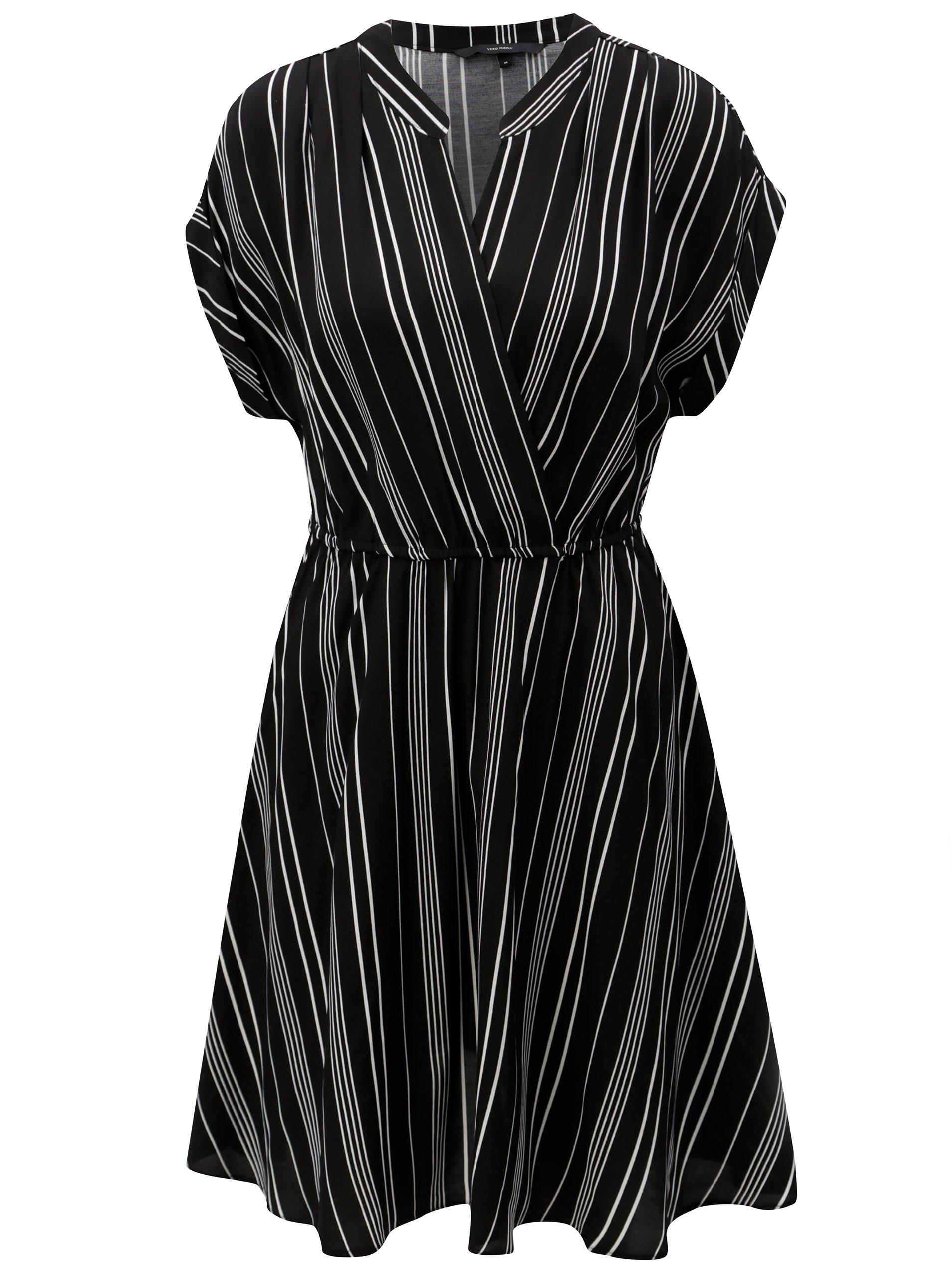 Černé pruhované šaty s překládaným výstřihem VERO MODA Laura