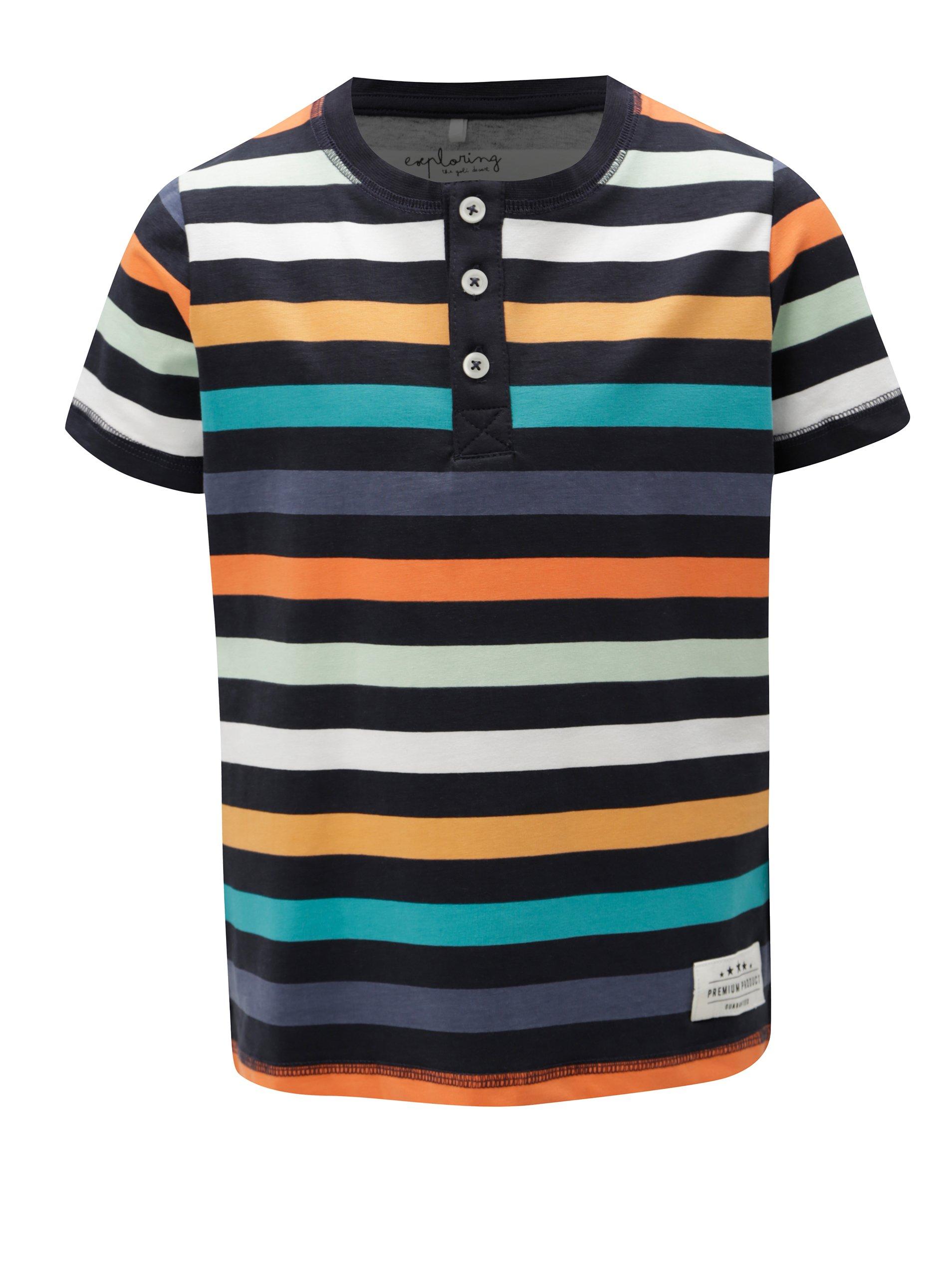 Tmavě modré klučičí pruhované tričko s knoflíky name it Jeppe