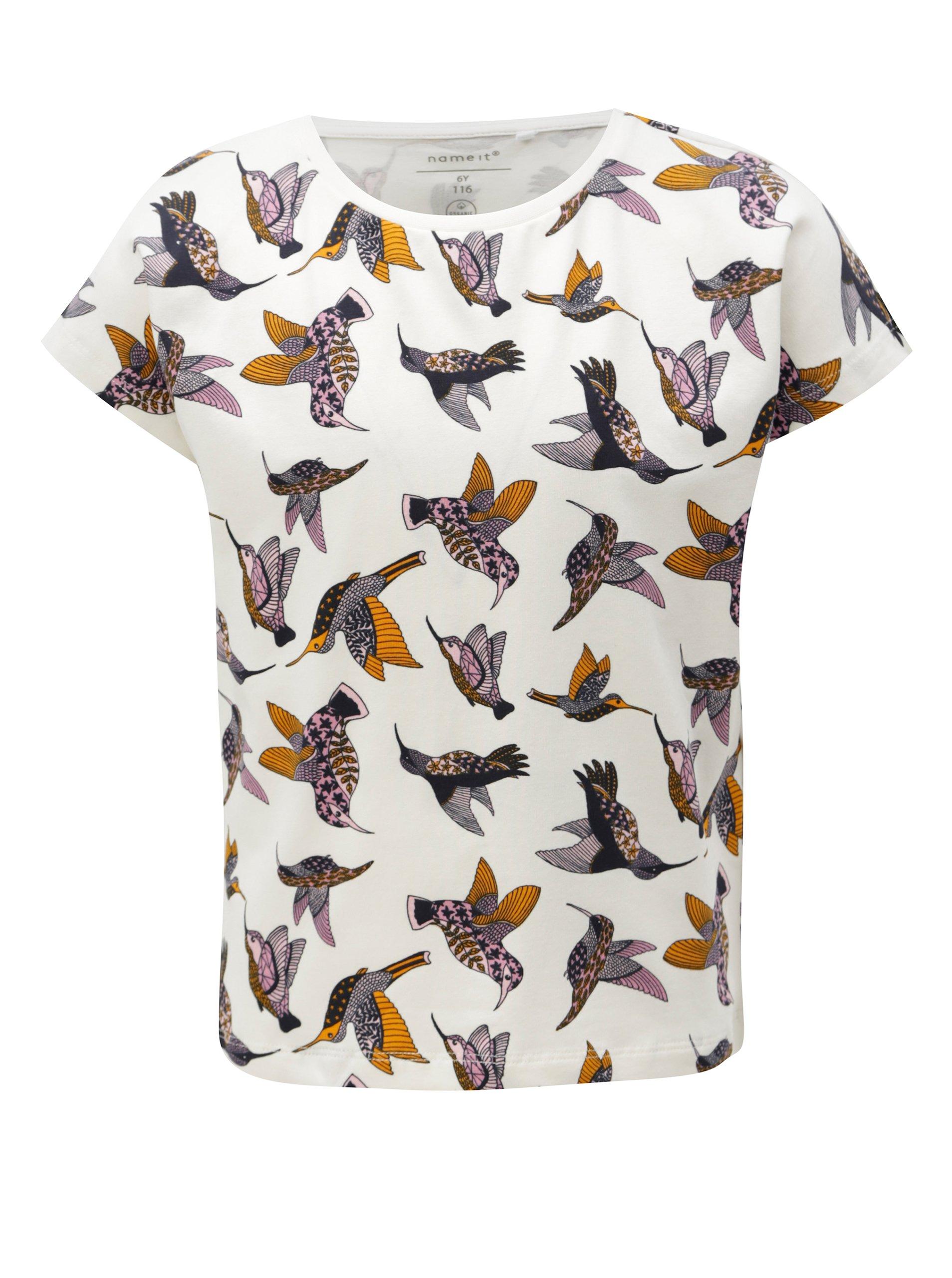 06b8da171897 Biele dievčenské tričko s potlačou vtákov name it Vilske