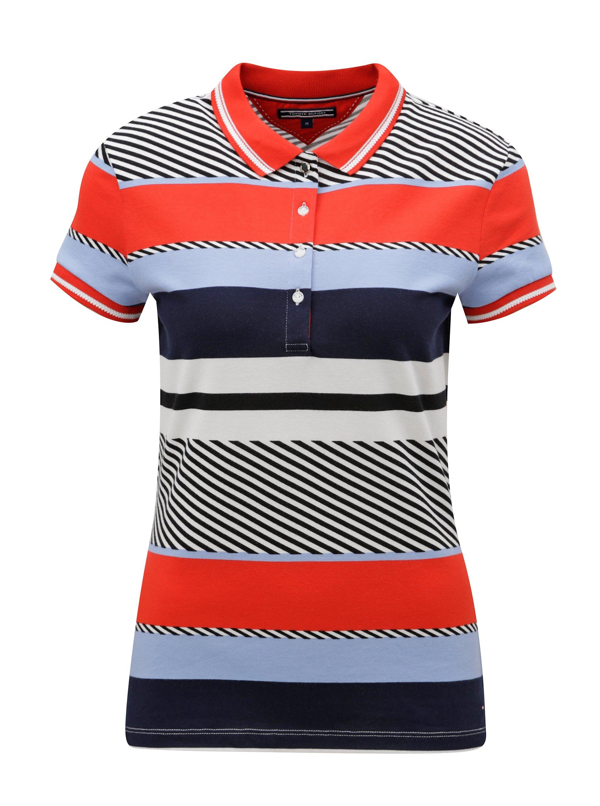 Modro-červené dámské pruhované polo tričko Tommy Hilfiger