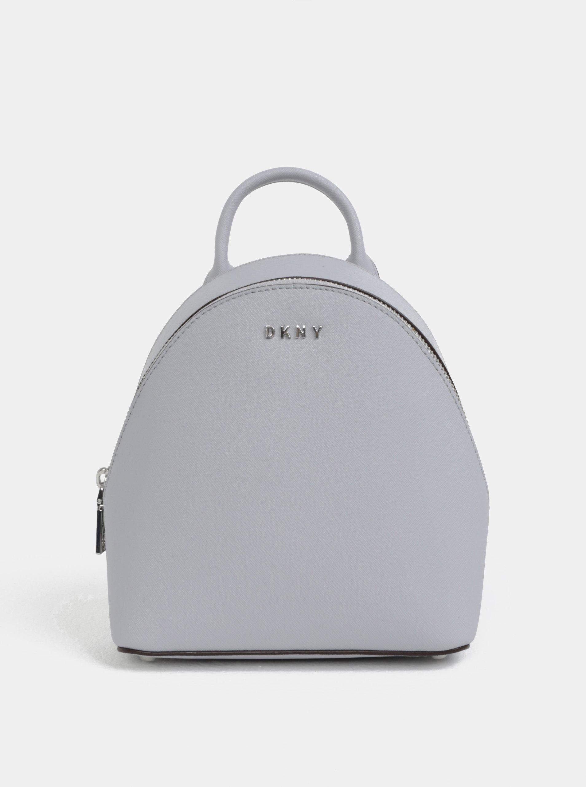 Fotografie Světle šedý malý kožený elegantní batoh DKNY Bryant