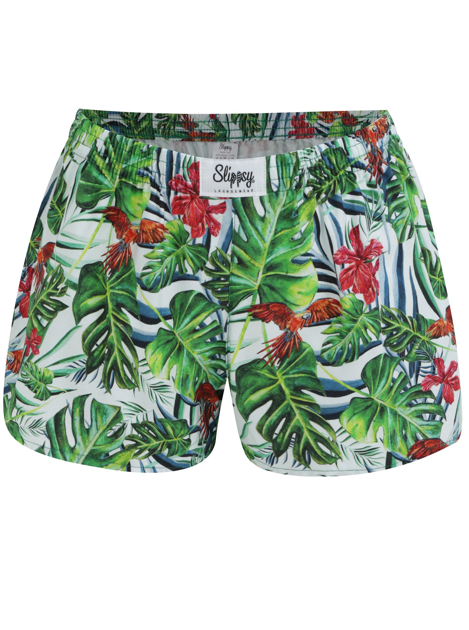 2597ae9b3ef2c Bielo-zelené dámske trenírky s tropickým vzorom Slippsy Jungle Girl