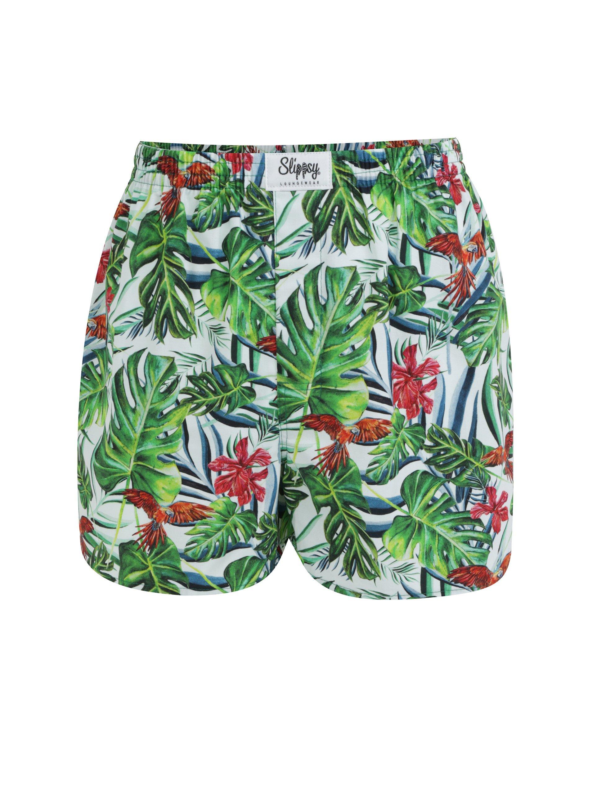 c2c23ac4eaa2f Bielo-zelené pánske trenírky s tropickým vzorom Slippsy Jungle Boy