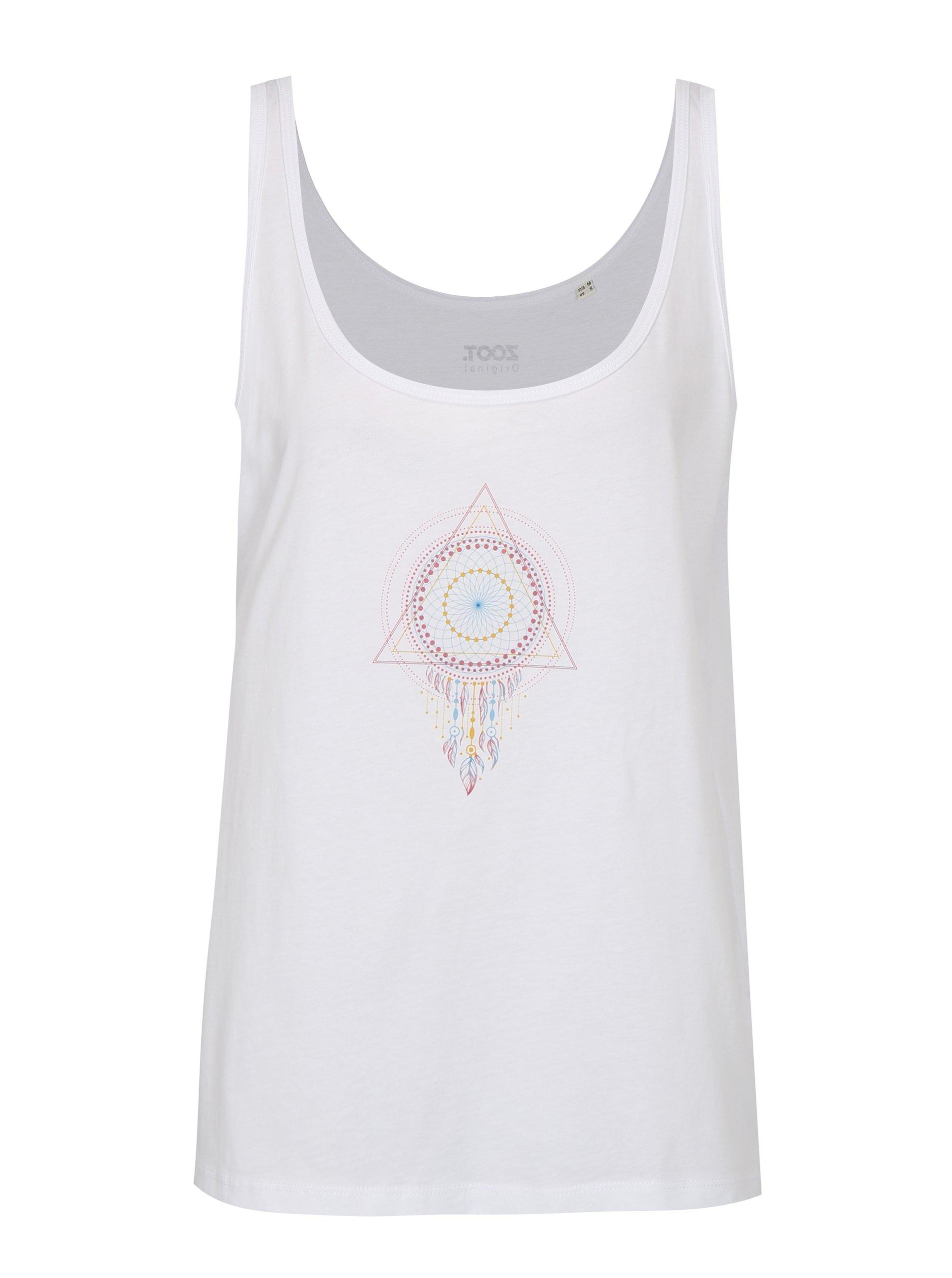 Bílé dámské volné tílko ZOOT Original Mandala