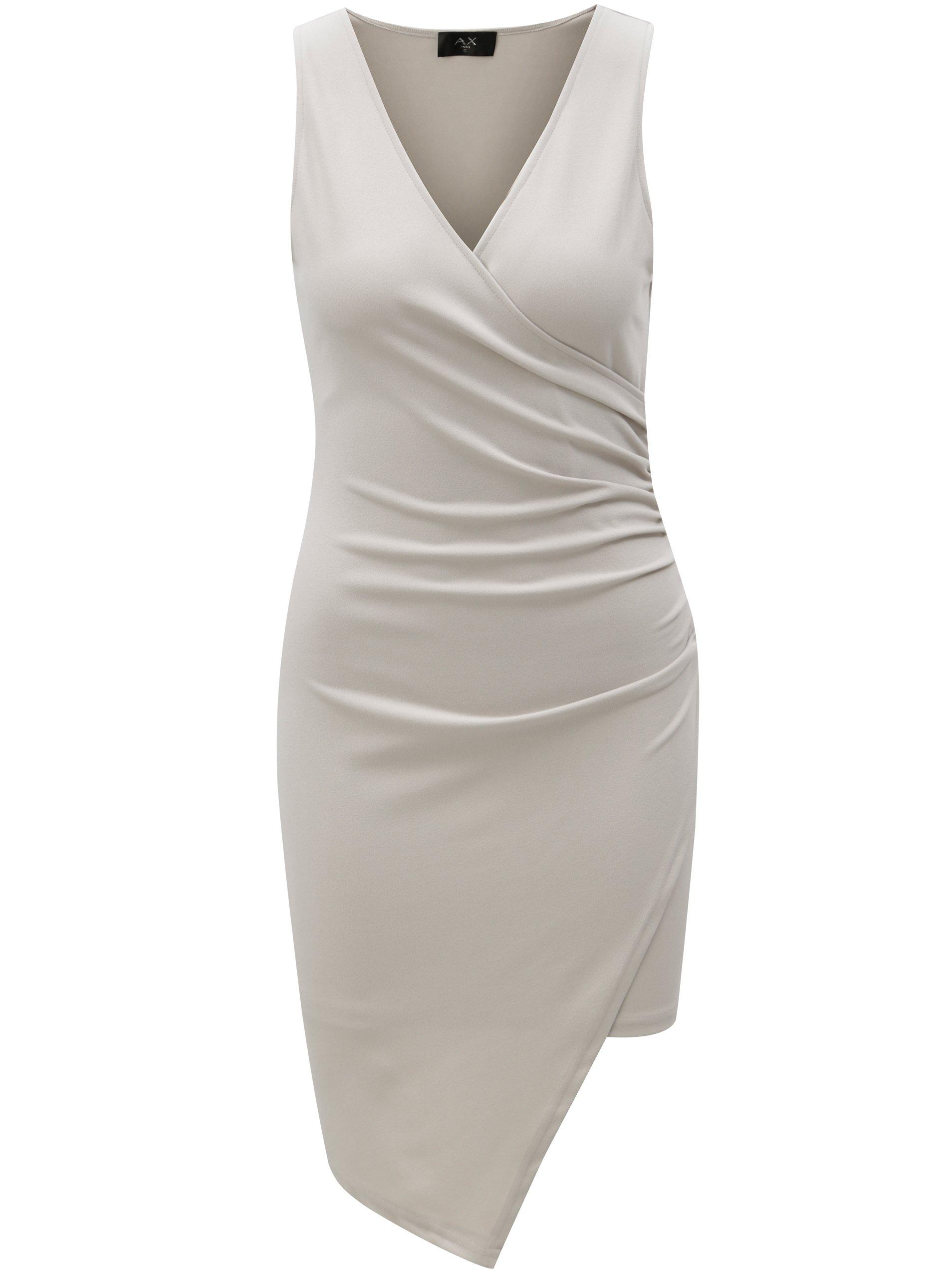 Šedé šaty s překládaným výstřihem AX Paris