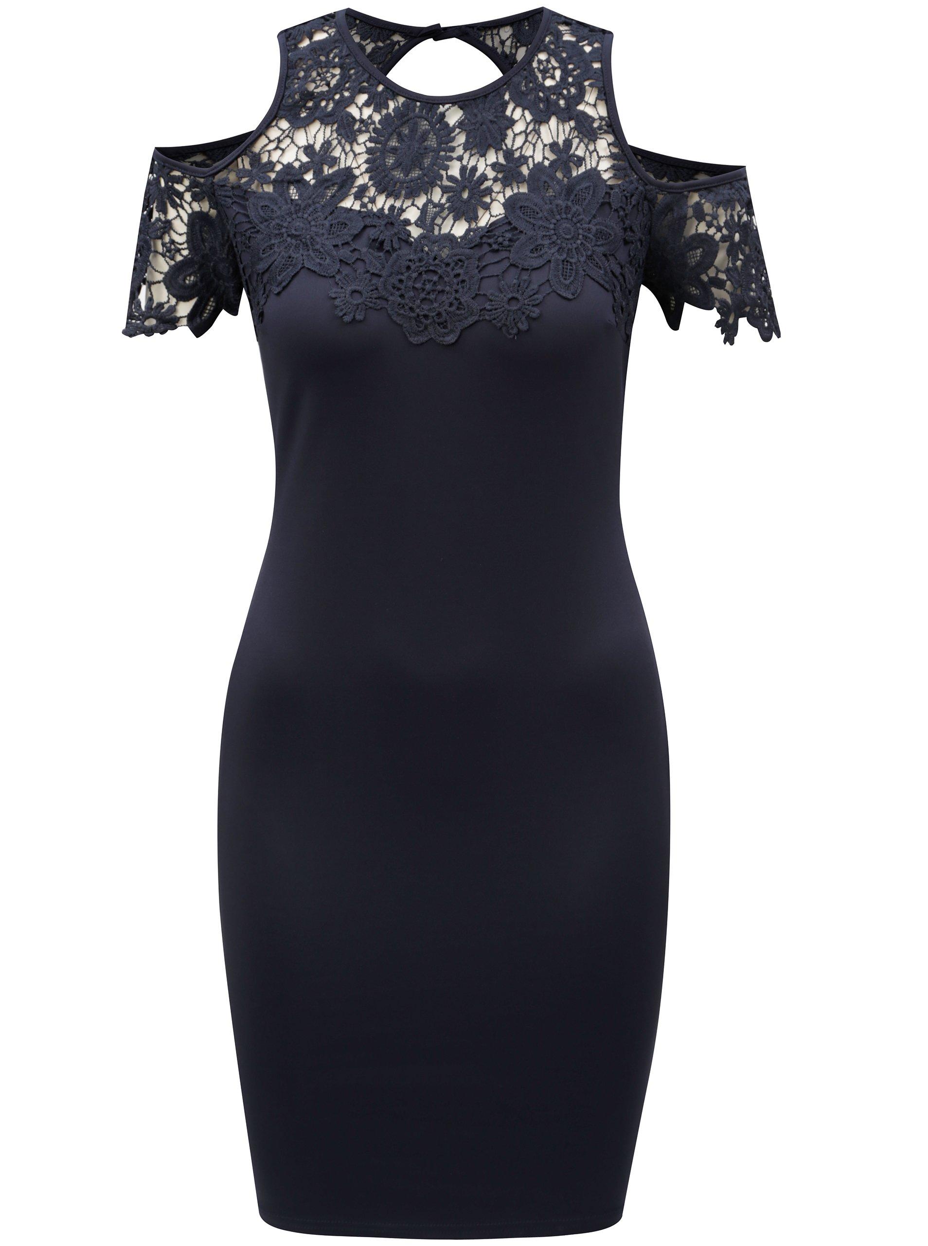 Tmavě modré pouzdrové šaty s průstřihy na ramenou AX Paris daec4c10b1