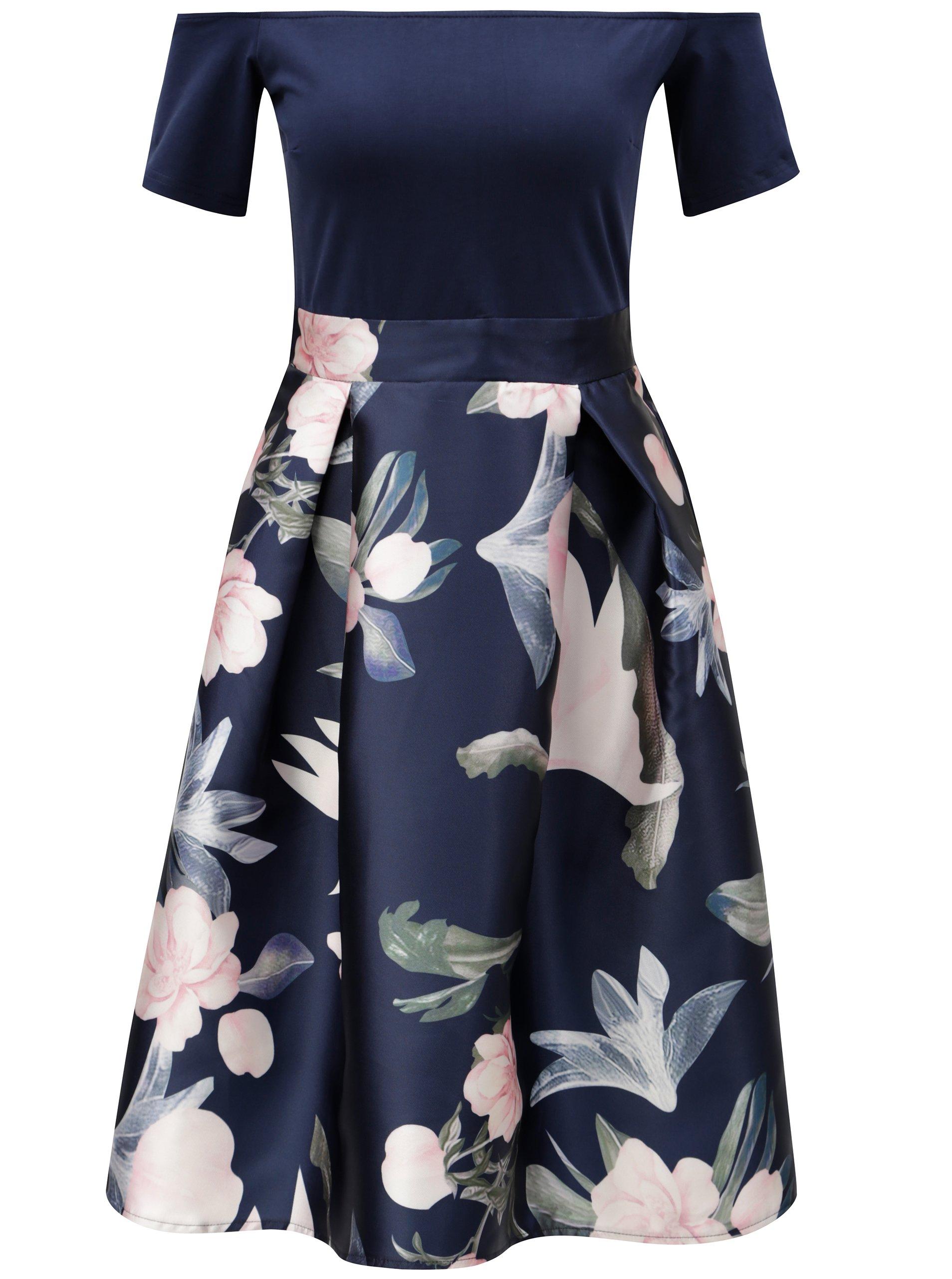 Tmavomodré šaty s kvetovanou sukňou AX Paris