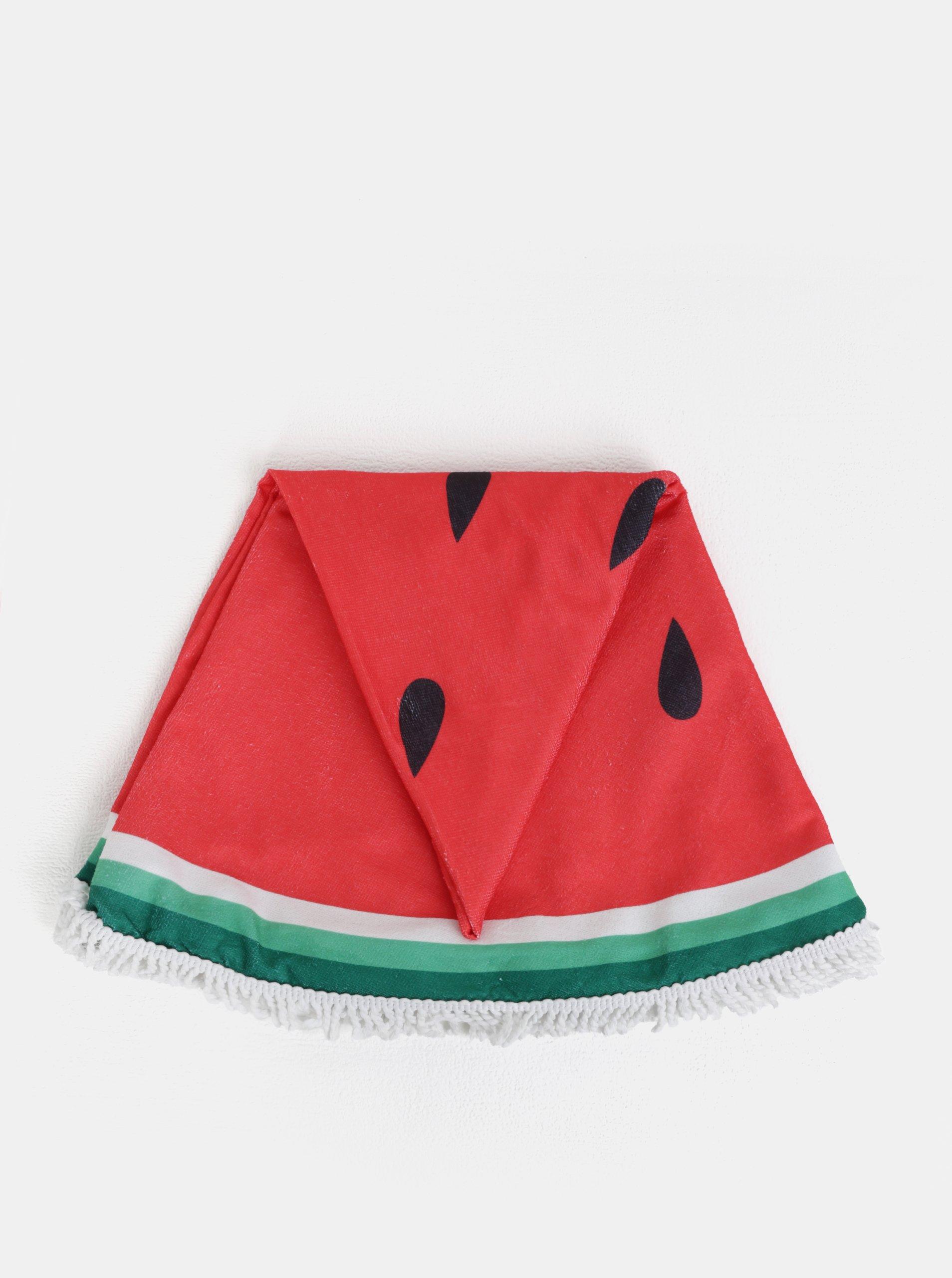 Zeleno-červená kulatá plážová deka s motivem melounu ZOOT