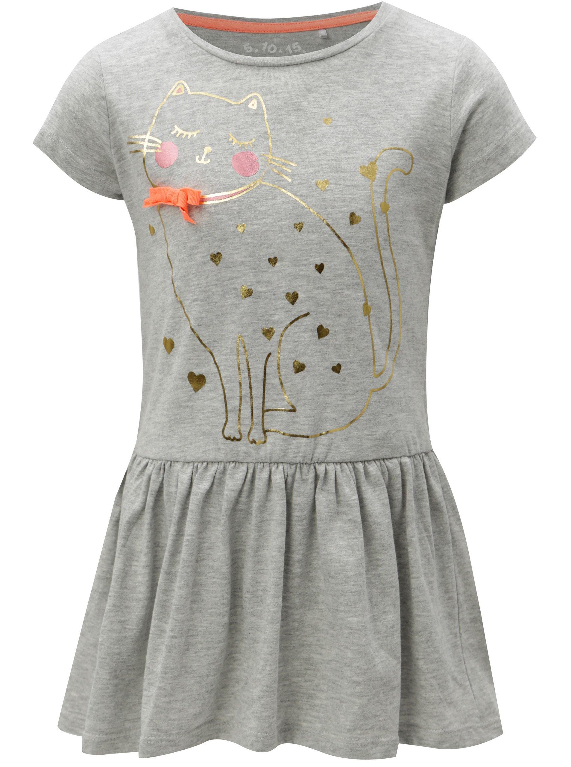 435c4f32556f Sivé dievčenské melírované šaty s potlačou 5.10.15.