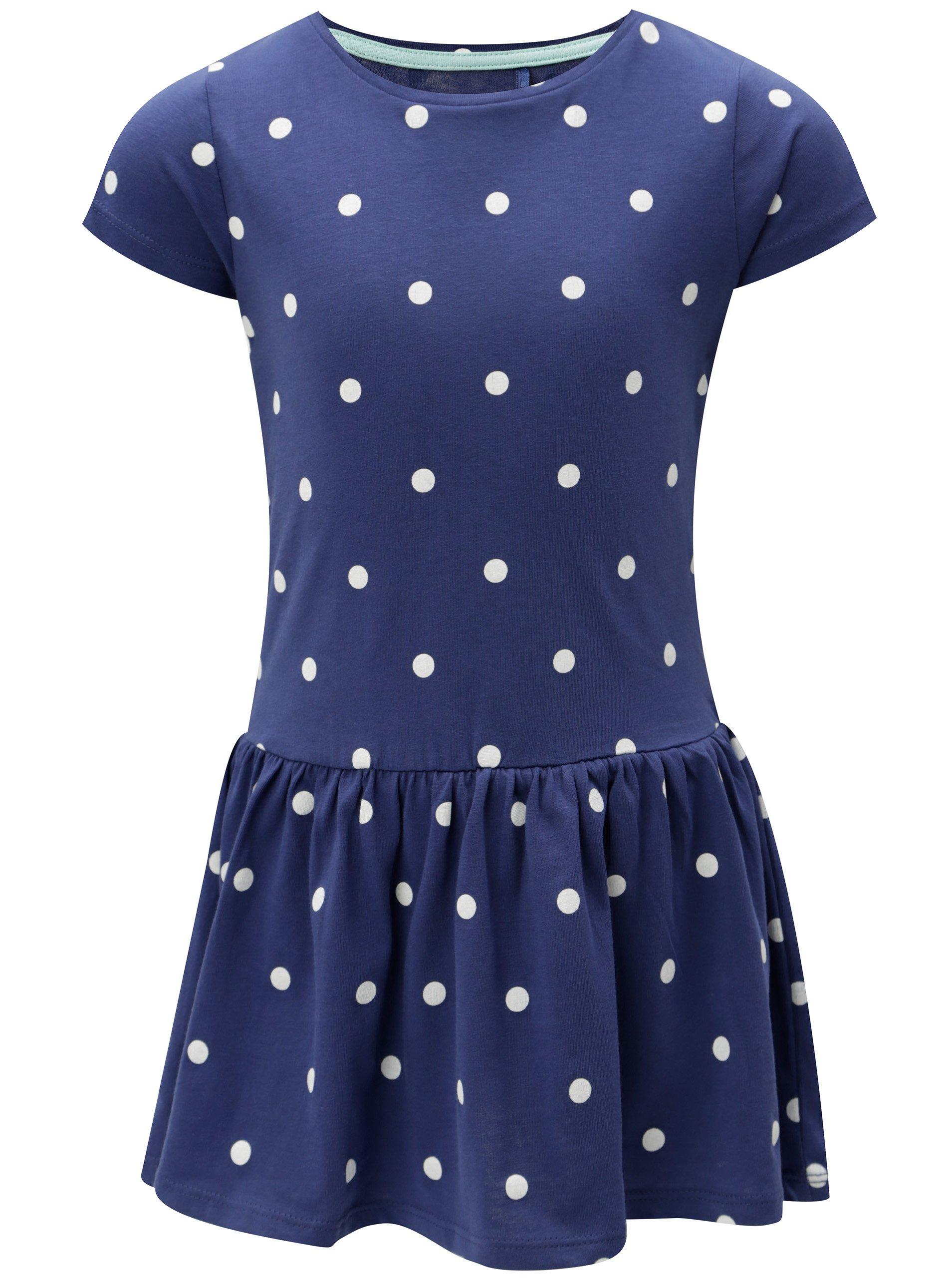 Modré dievčenské bodkované šaty 5.10.15.